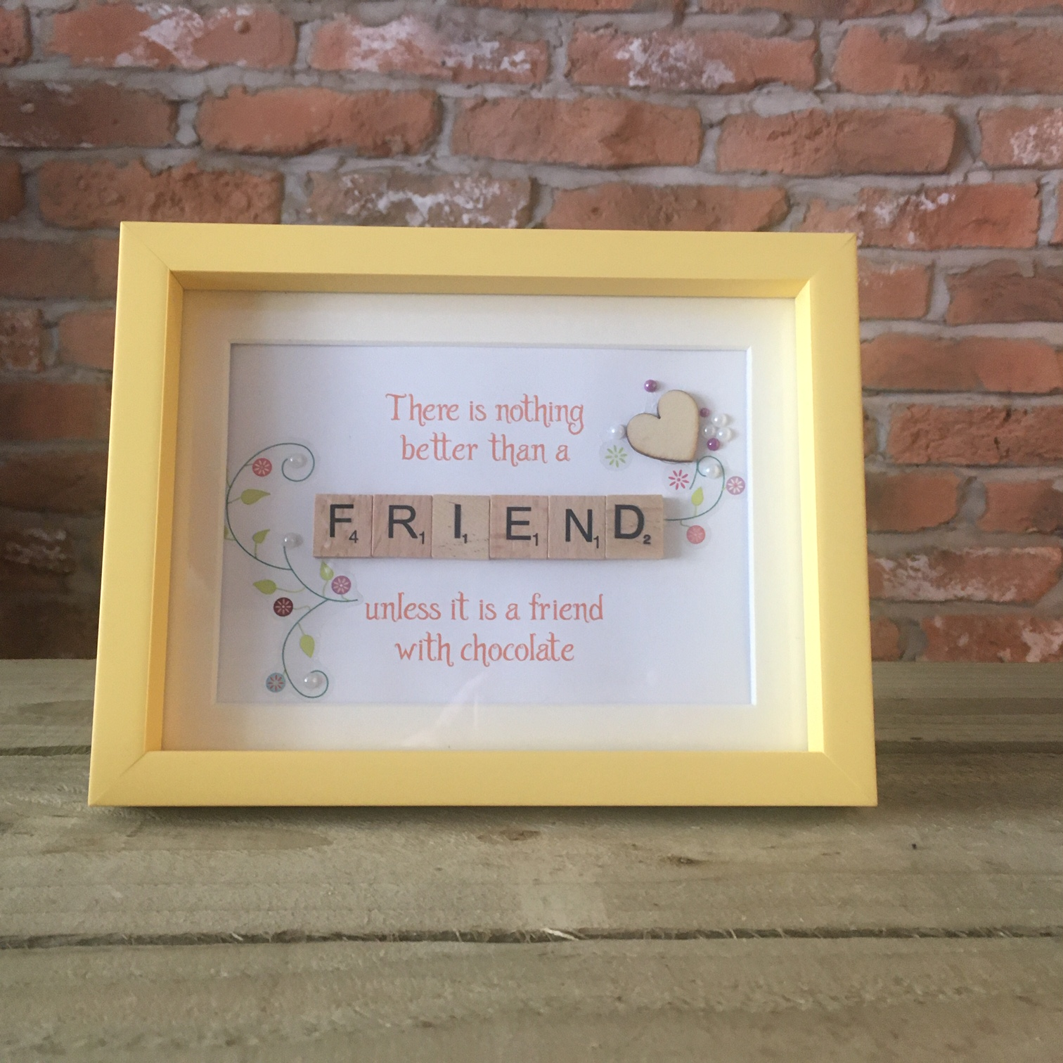 Scrabble Art - Friend Yellow Wood Heart