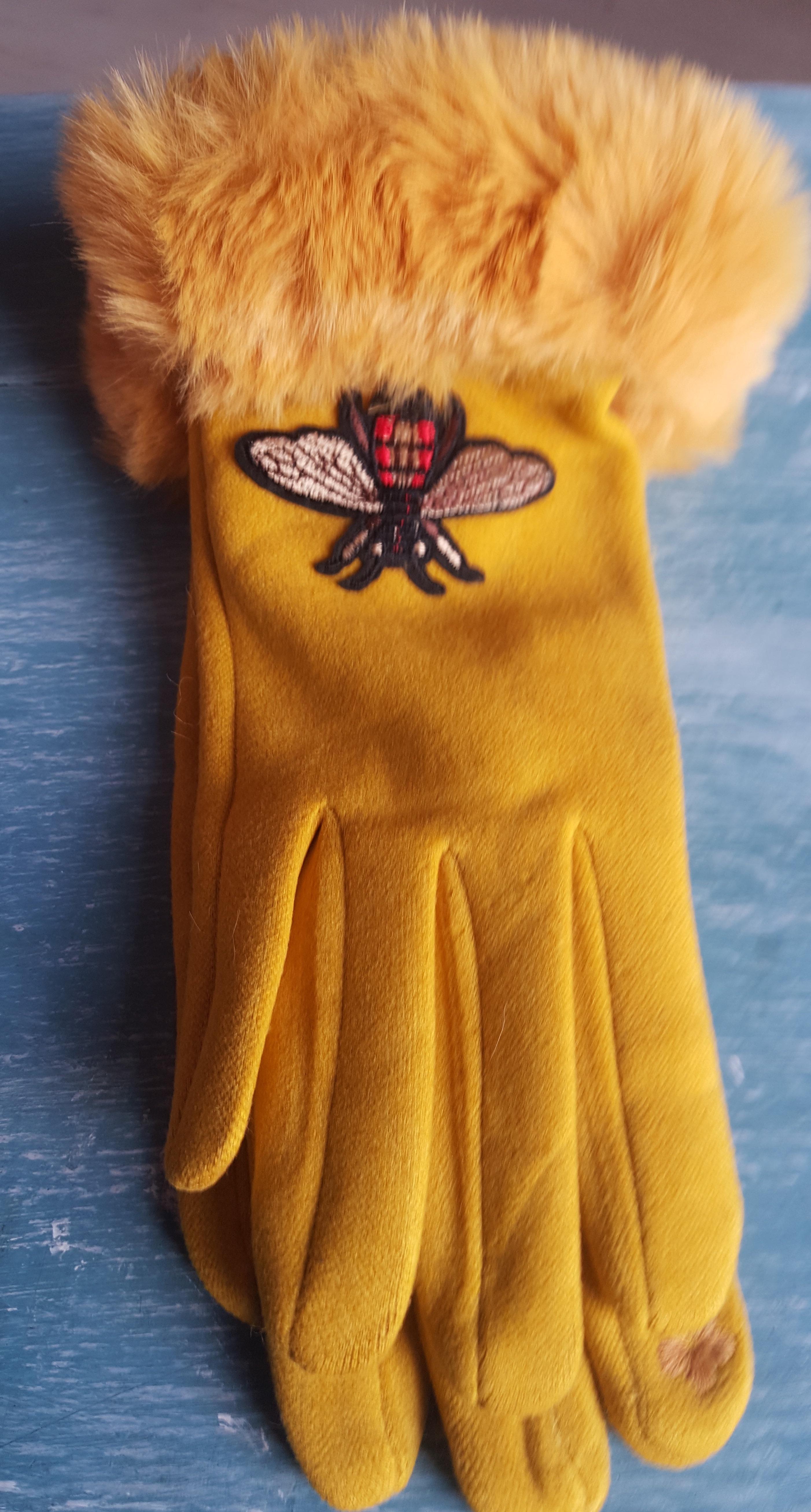 Ladies Gloves - Mustard Bee