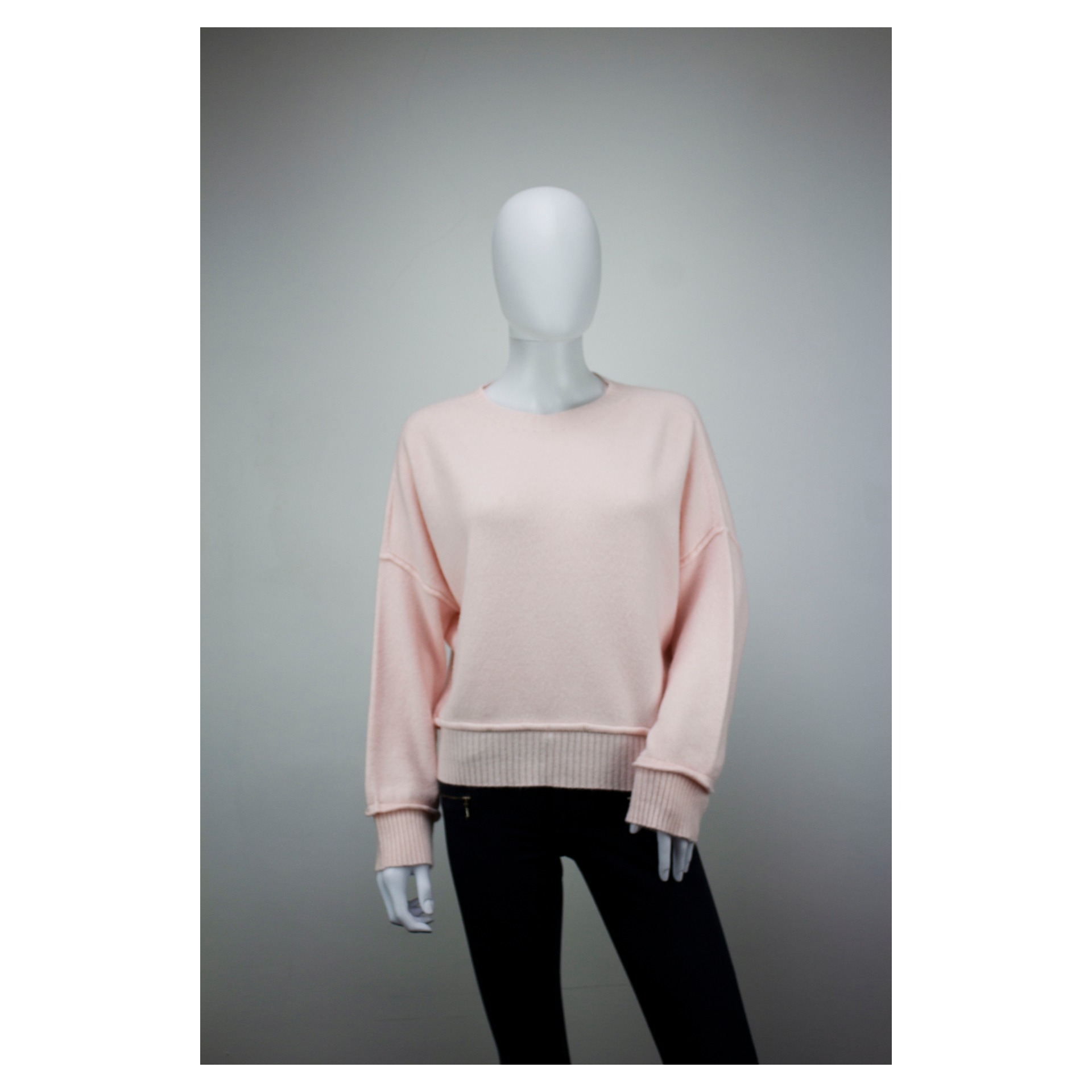 Drop Shoulder Ribbed End Jumper (Blossom Pink)