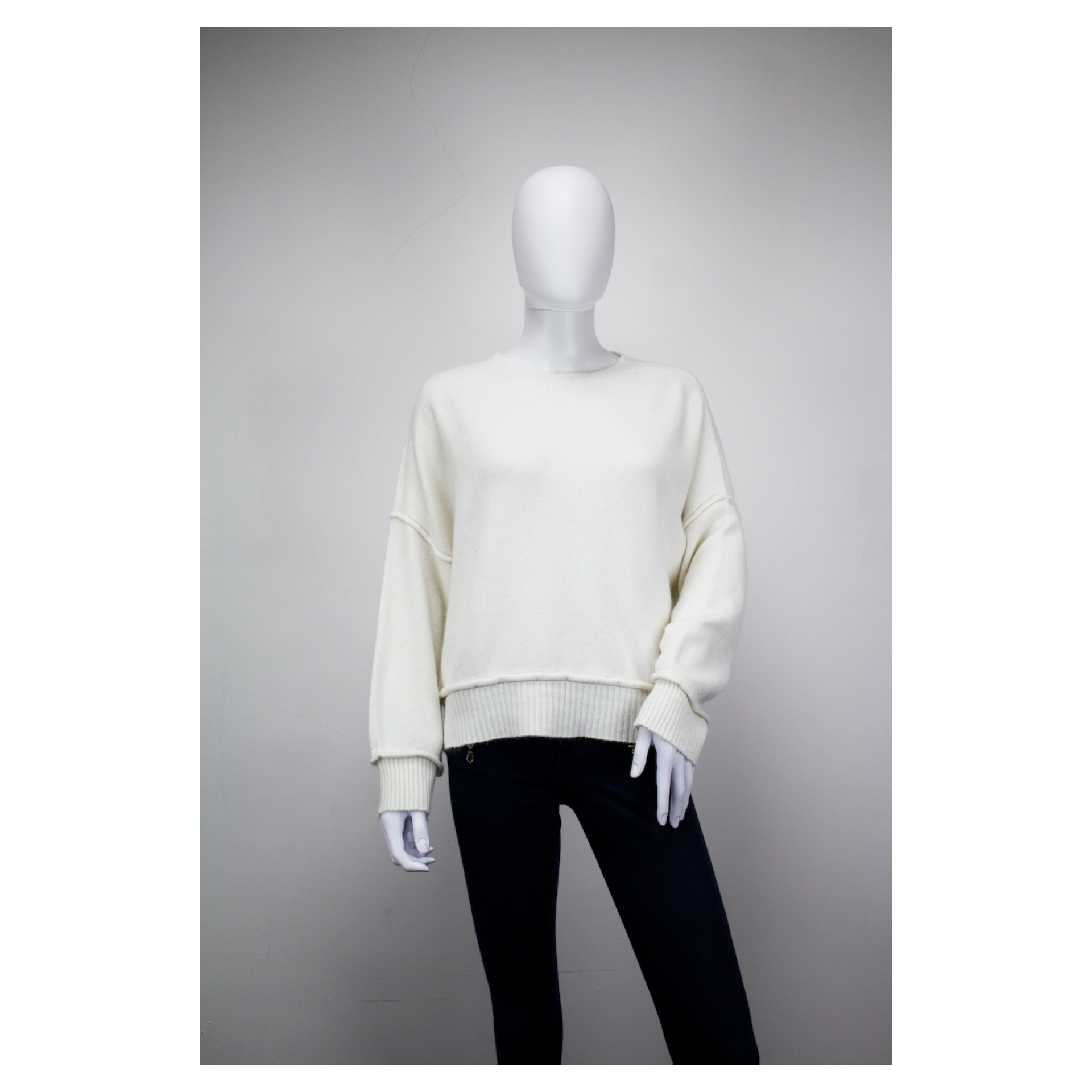 Drop Shoulder Ribbed End Jumper (Spring Cream)