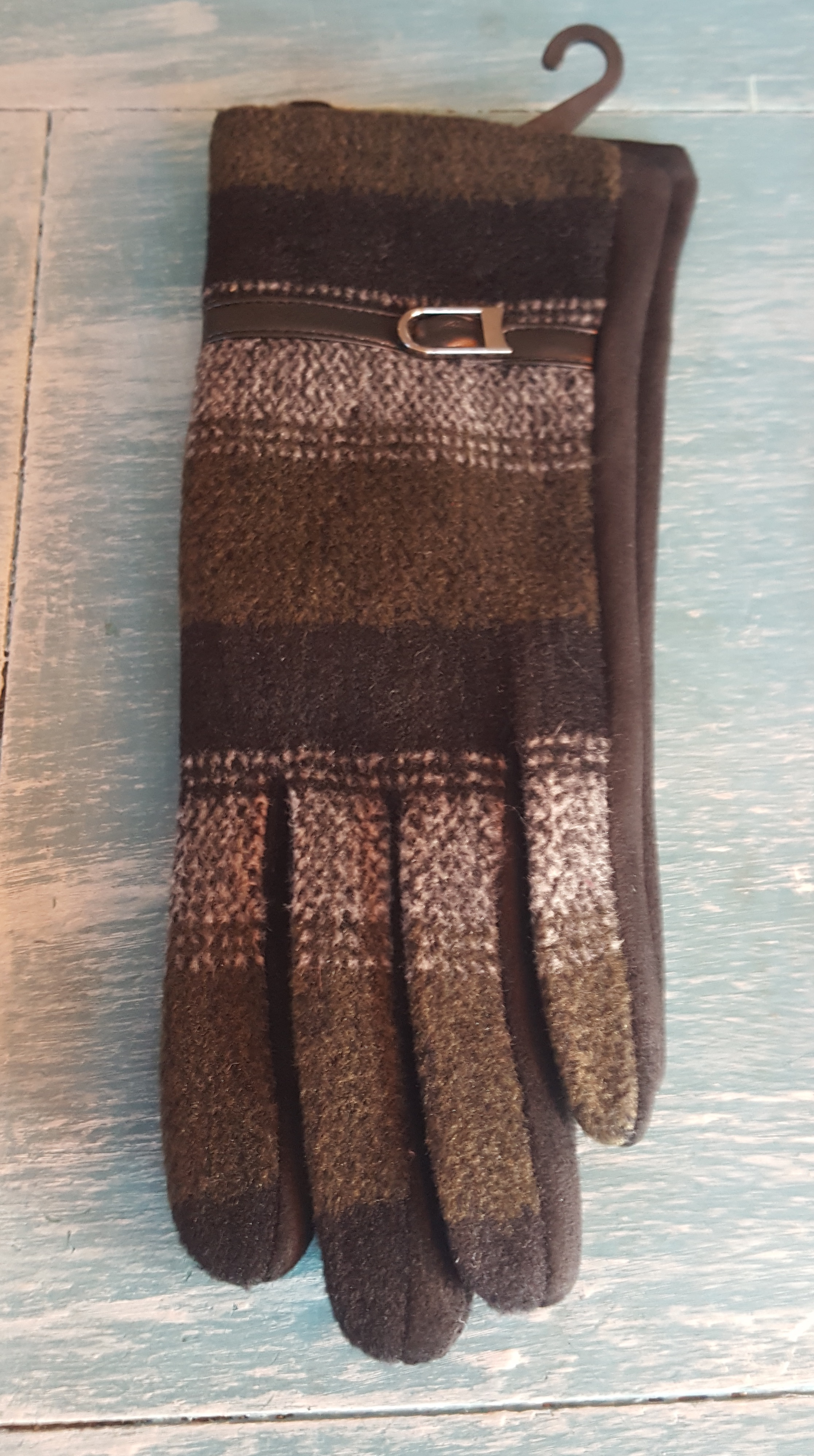 Ladies Gloves - Brown Check