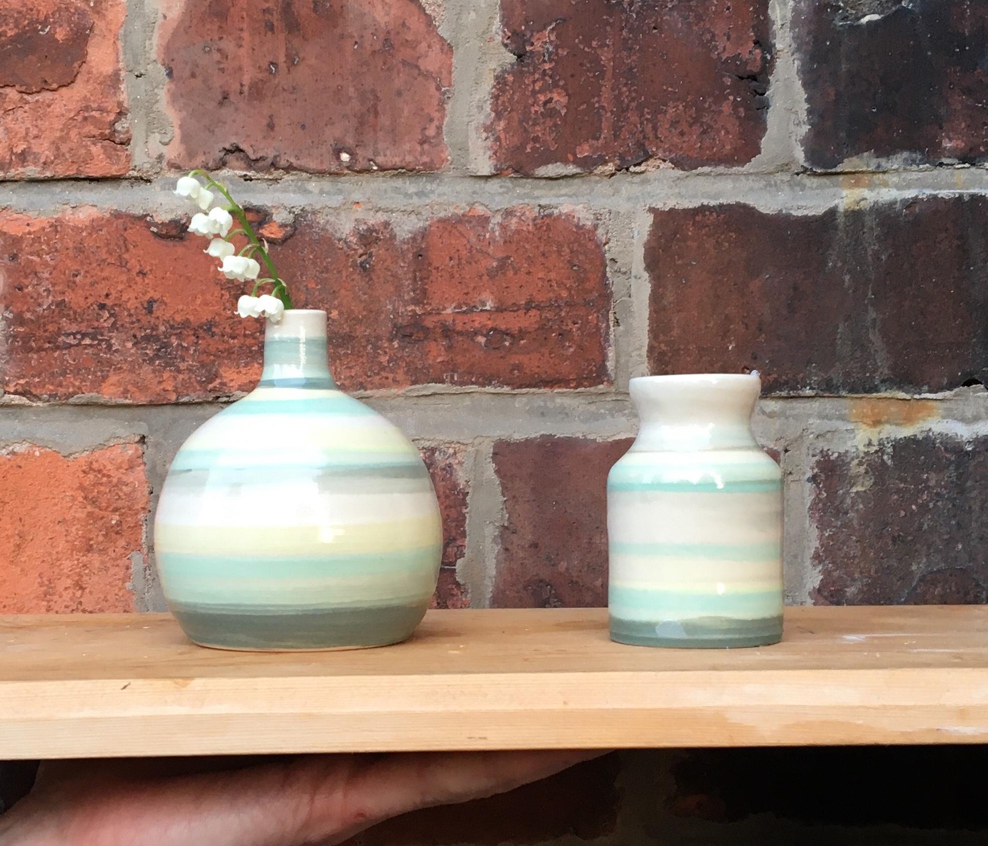Stripy Mini Bottle Vase Set