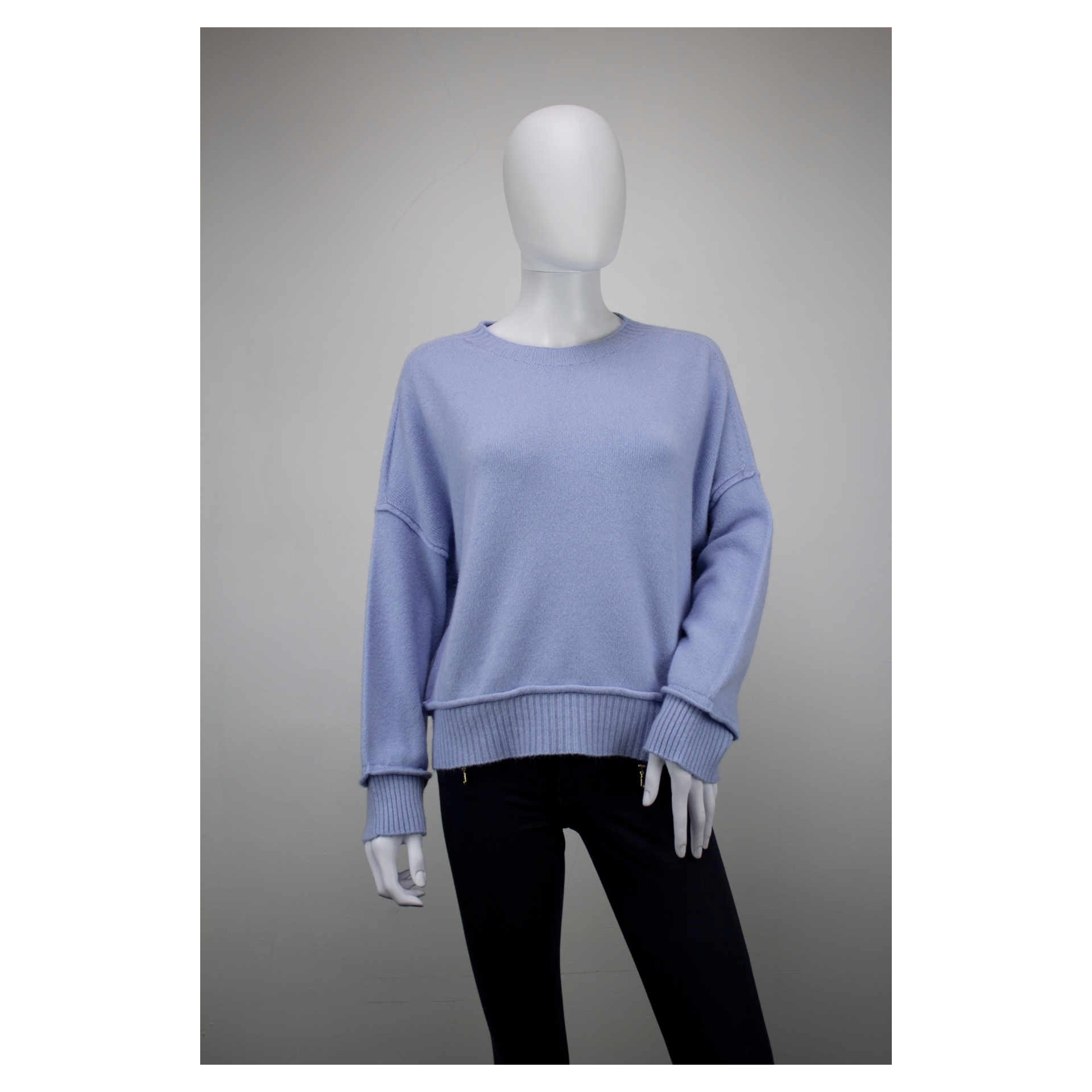 Drop Shoulder Ribbed End Jumper (Spring Sky)