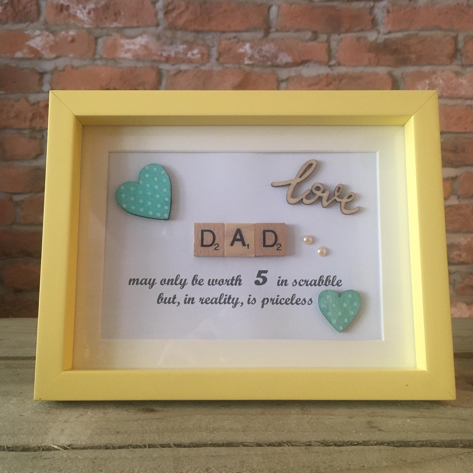Scrabble Art - Dad Yellow