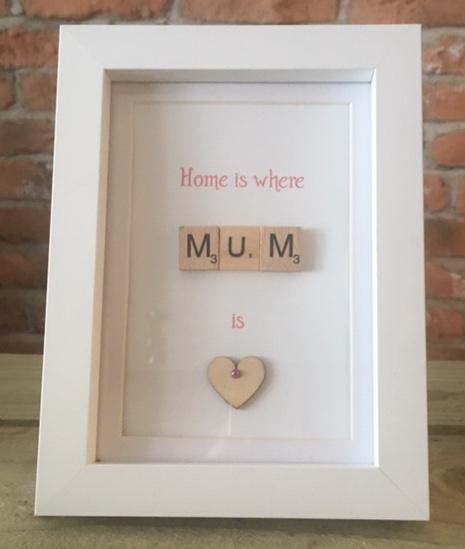 Scrabble Art - Mum Home (Wood Heart)