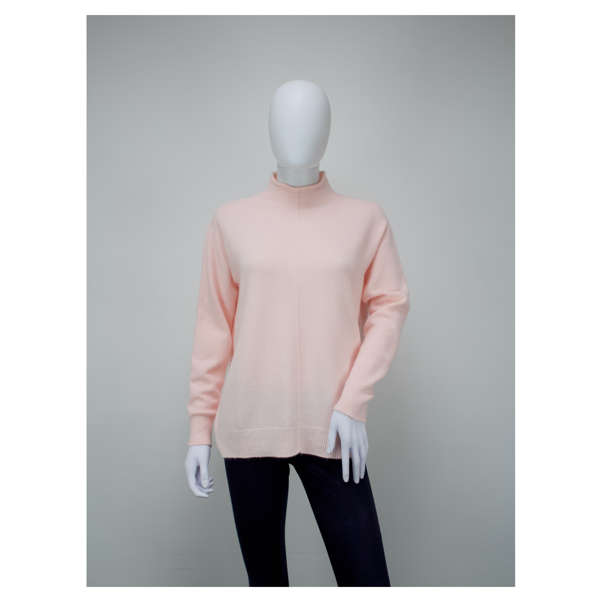 High Neck Fit Knitted Jumper (Blossom Pink)