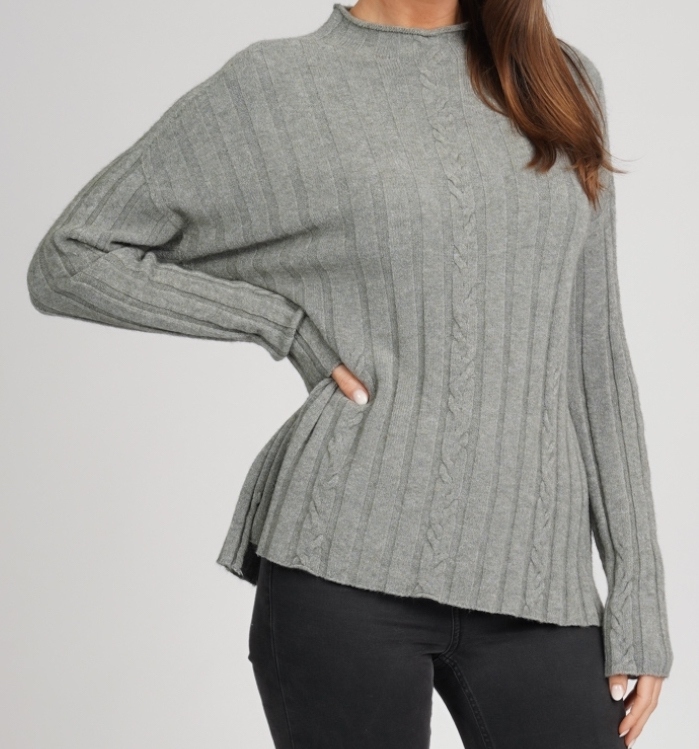 W Plaited Pattern High Neck Jumper (Spring Moss)