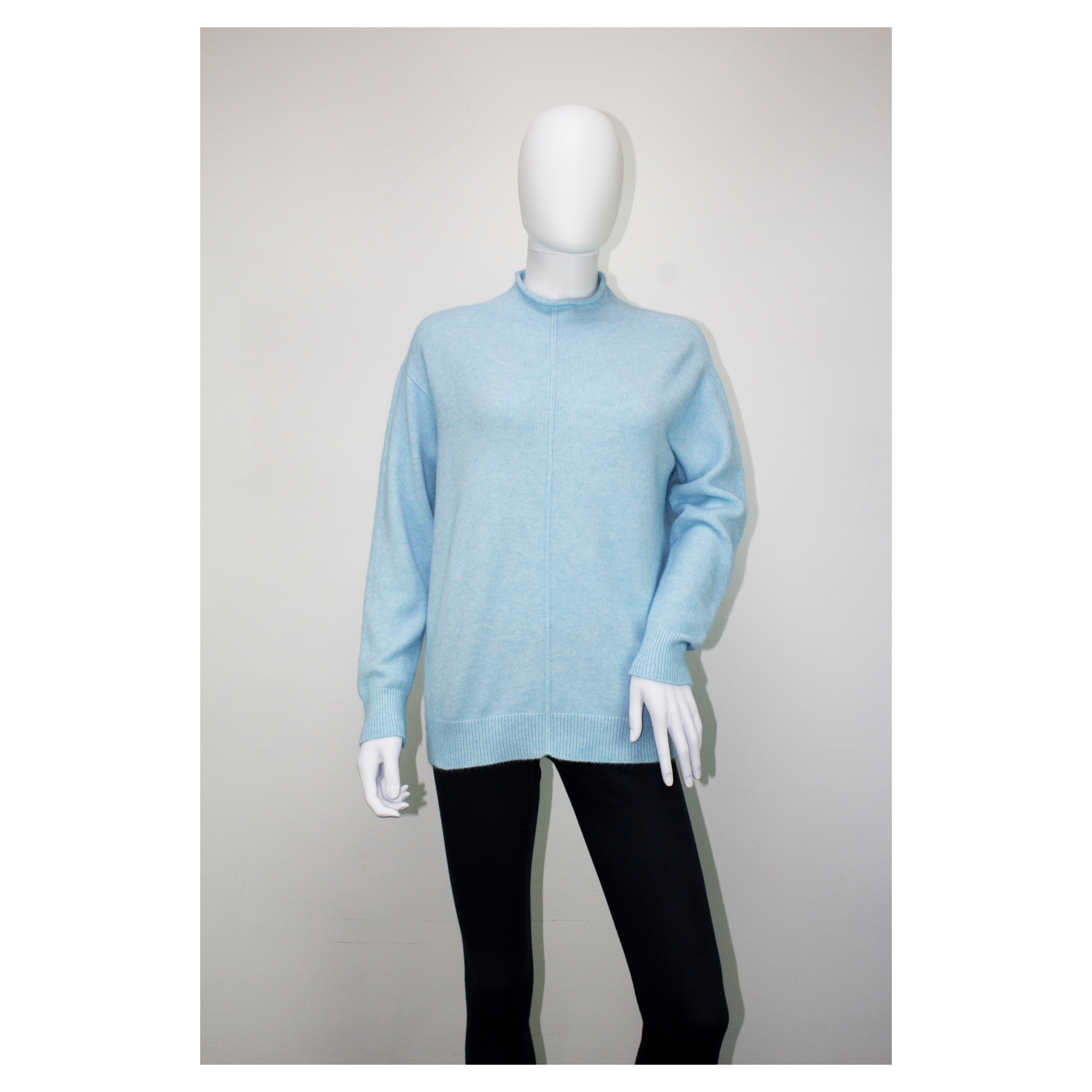 High Neck Fit Knitted Jumper (Sky Blue)