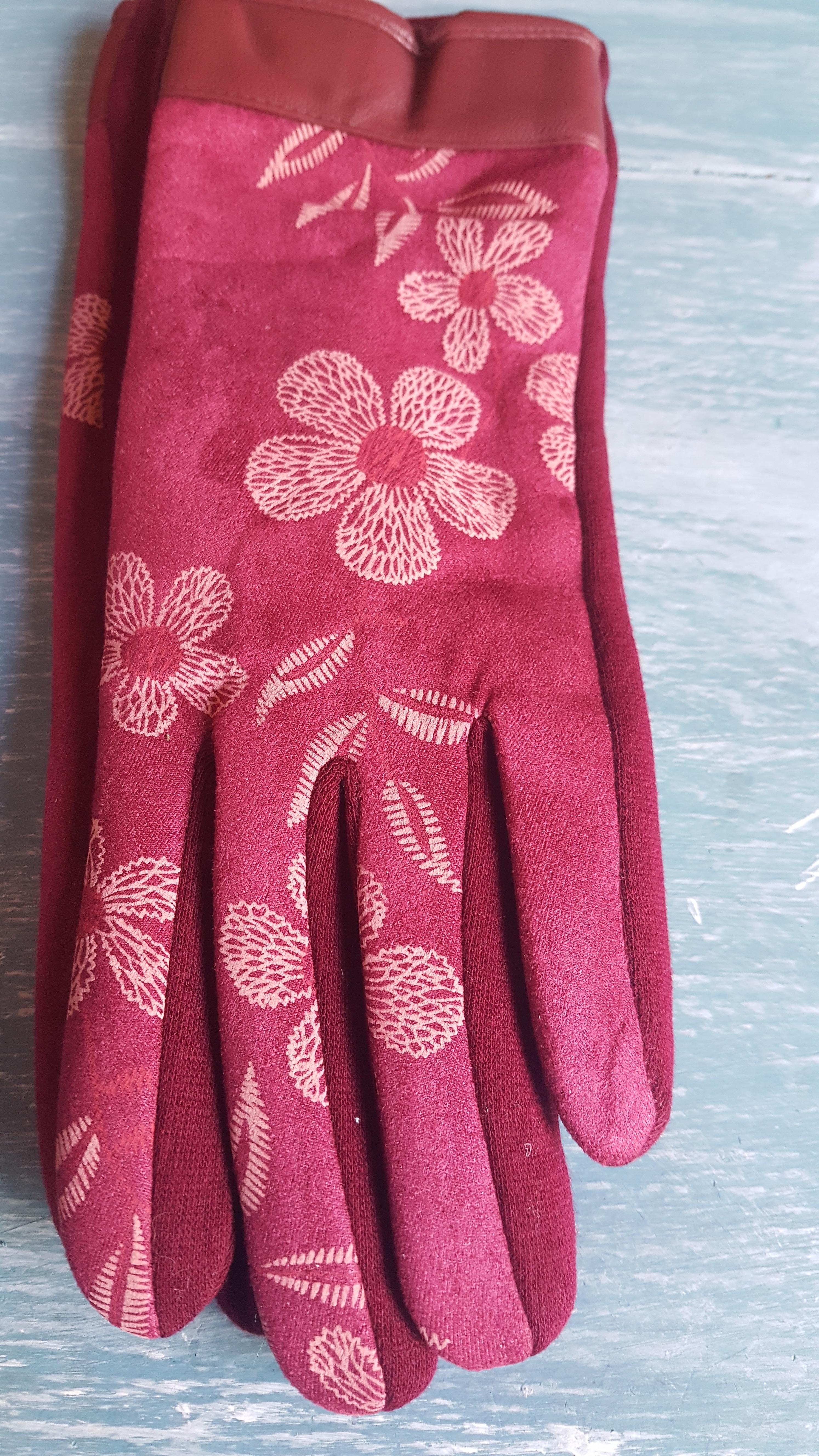 Ladies Gloves - Pink Floral