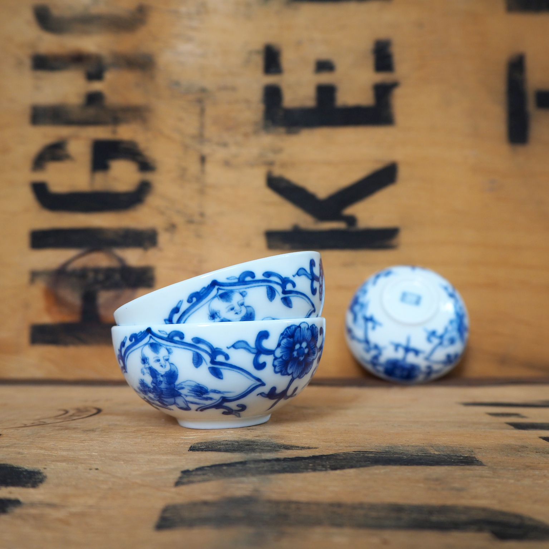 Qinghua Dancing Lad Porcelain Teabowl ~ 30ml