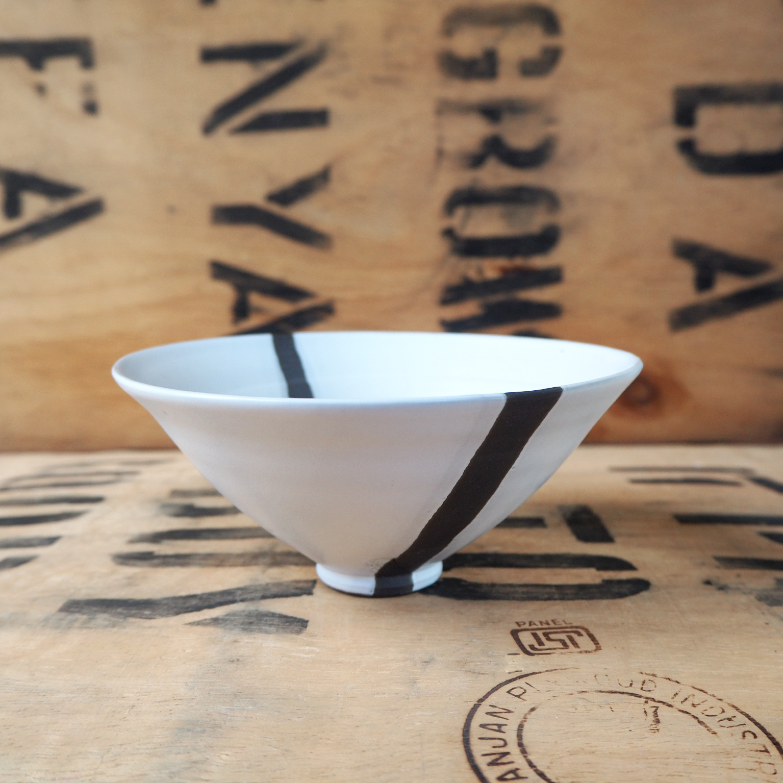 Black Porcelain Teabowl + White Glaze By Anja Graefe