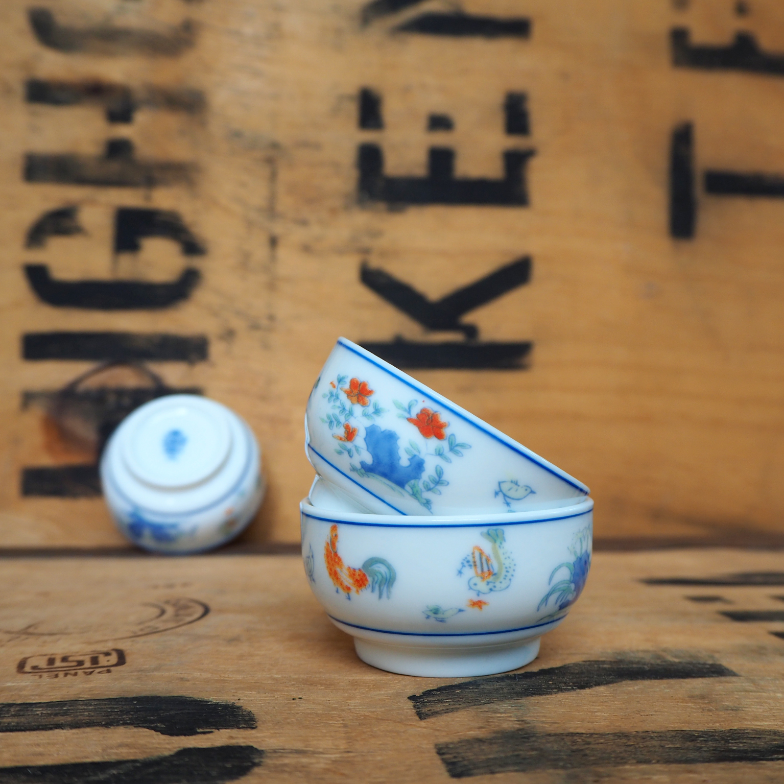 Roosters and Hens Porcelain Teabowl ~ 40ml