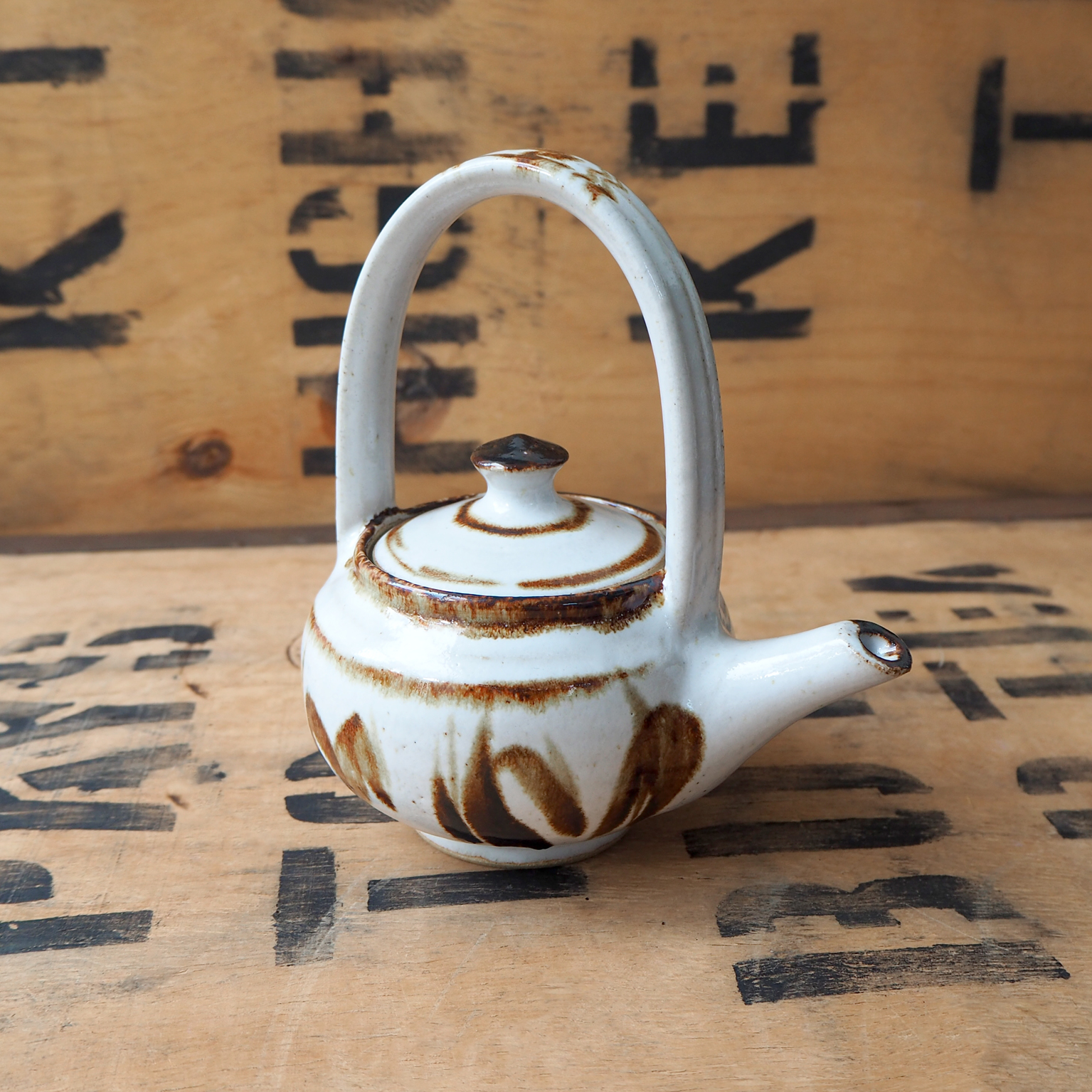 Painted Brown Teapot by Robyn Cove