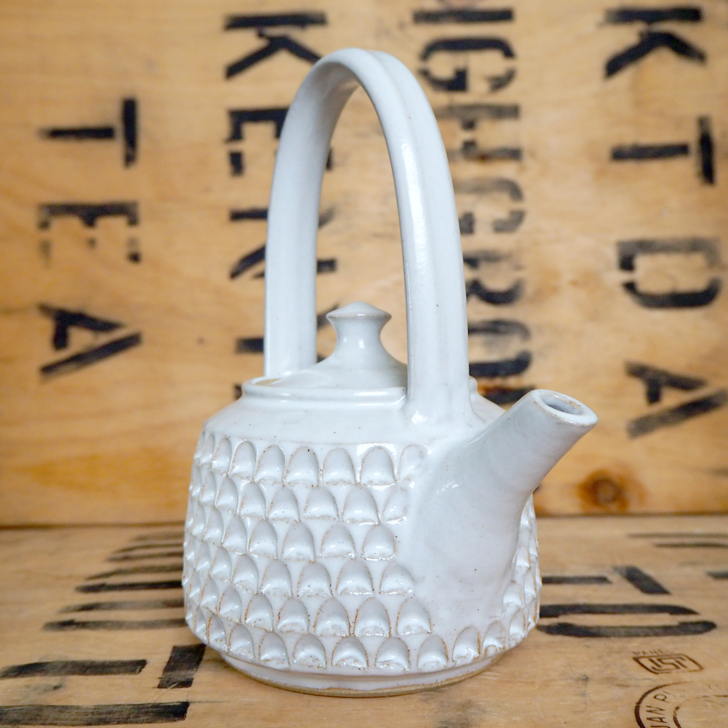 Notched White Teapot By Robyn Cove