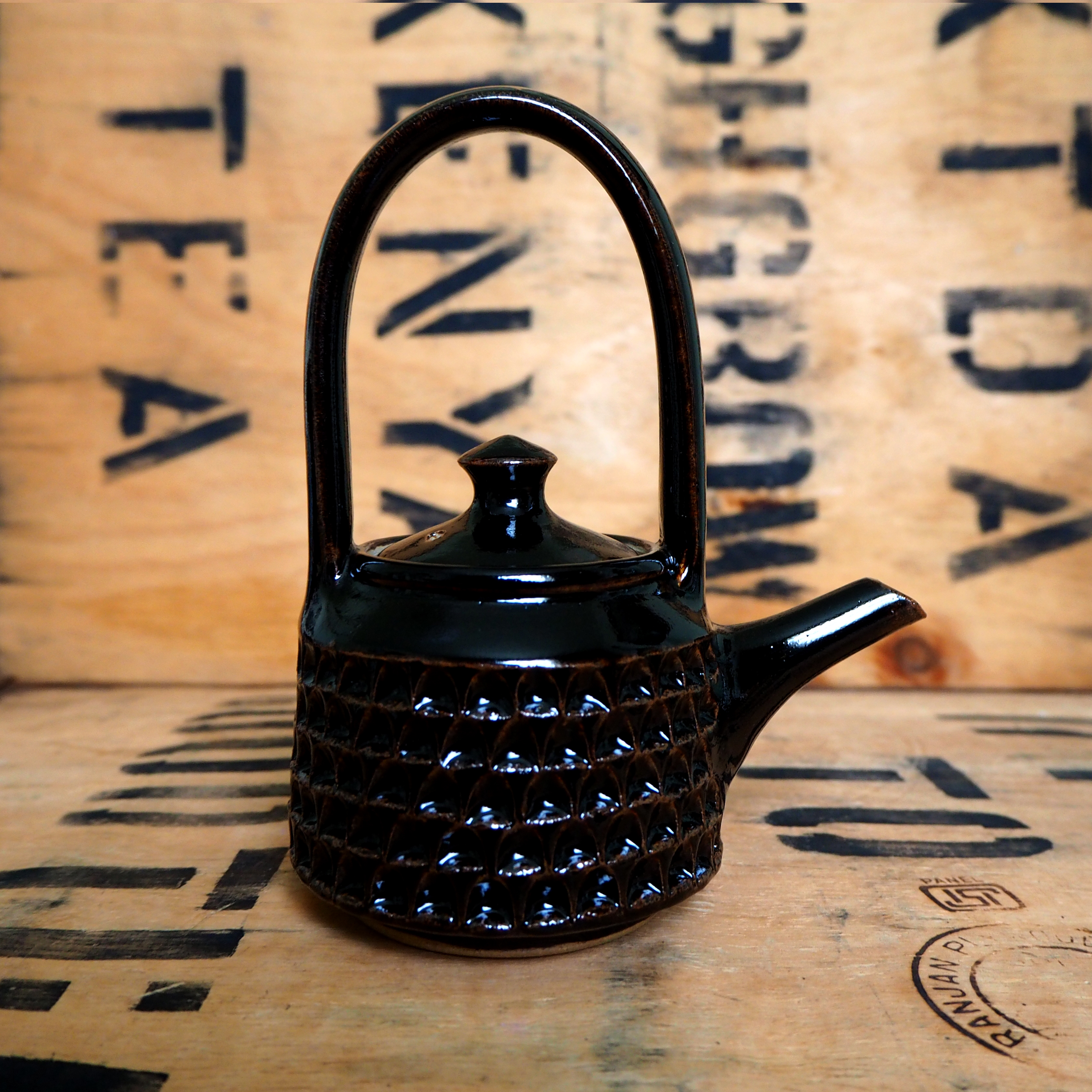 Notched Dark Teapot by Robyn Cove
