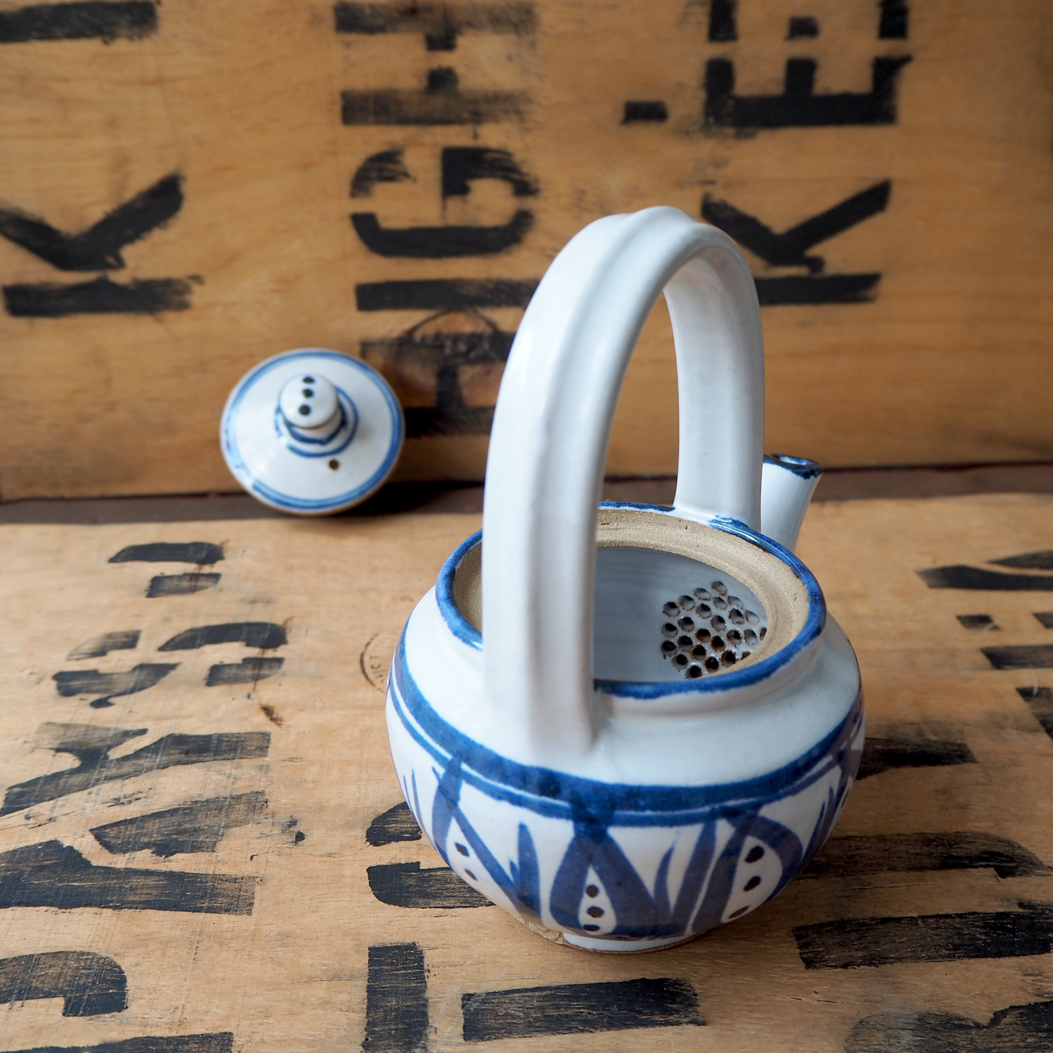 Painted Blue Teapot by Robyn Cove