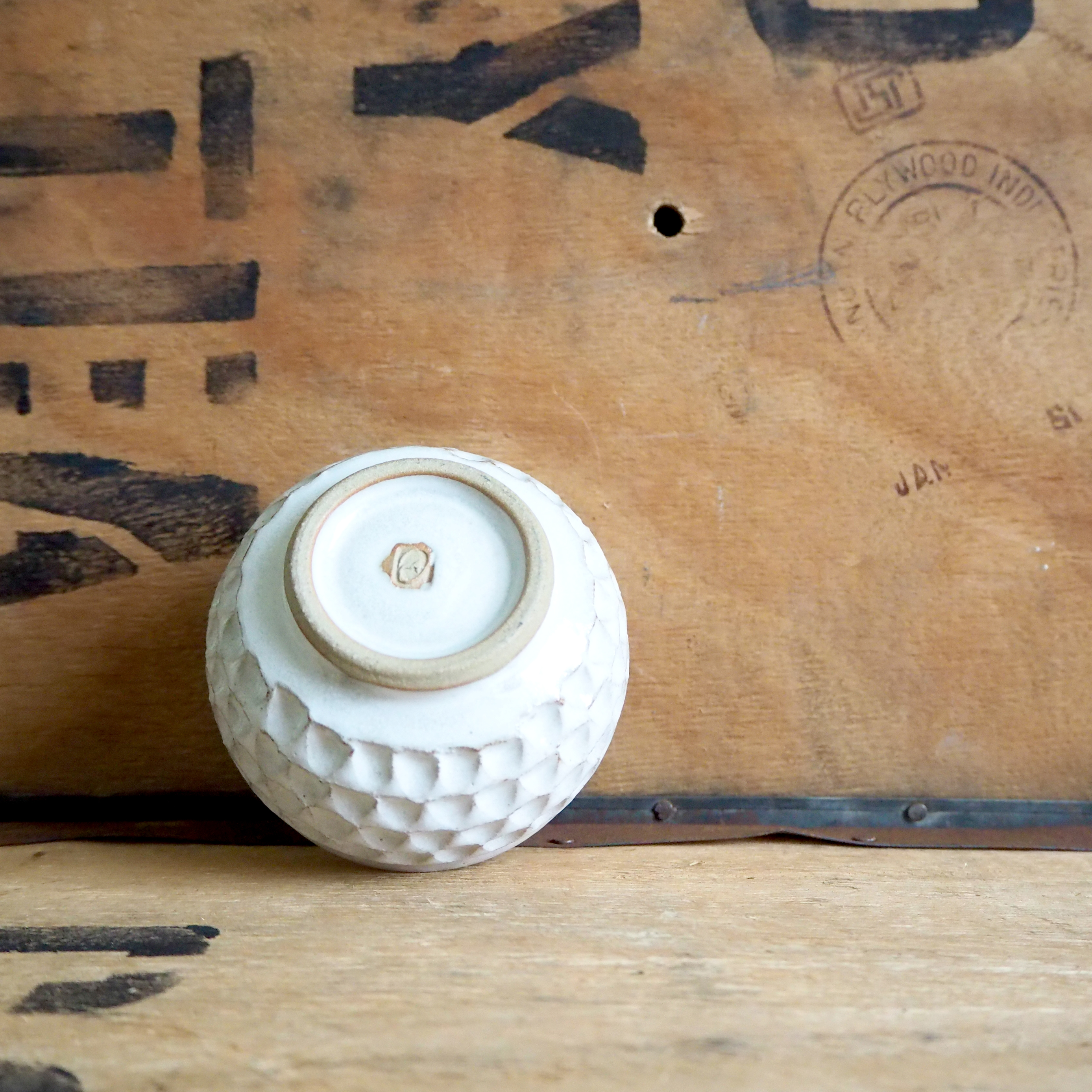 Notched White Tea Cup by Robyn Cove
