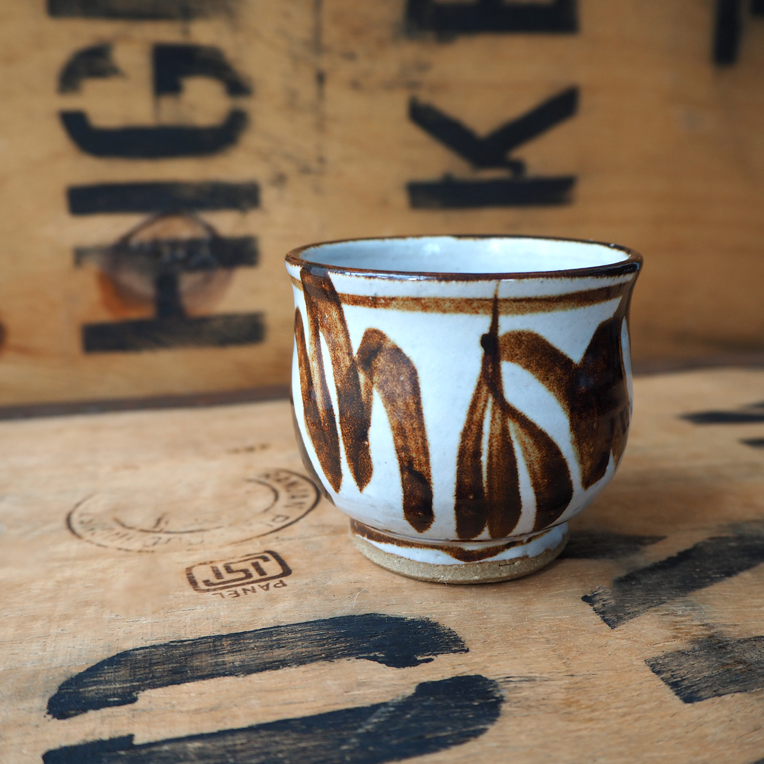 Painted Brown Tulip Tea Cup by Robyn Cove