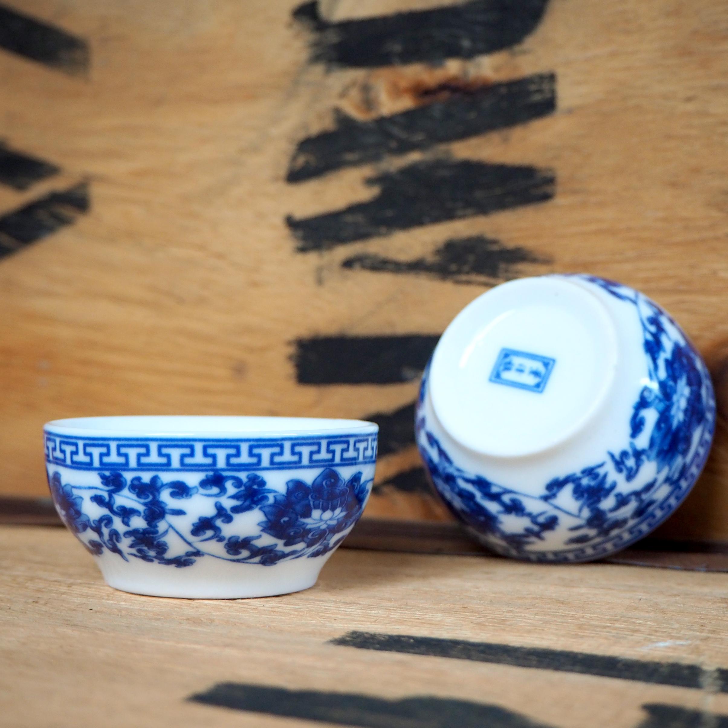 Lotus Pattern Porcelain Teabowl ~ 55ml