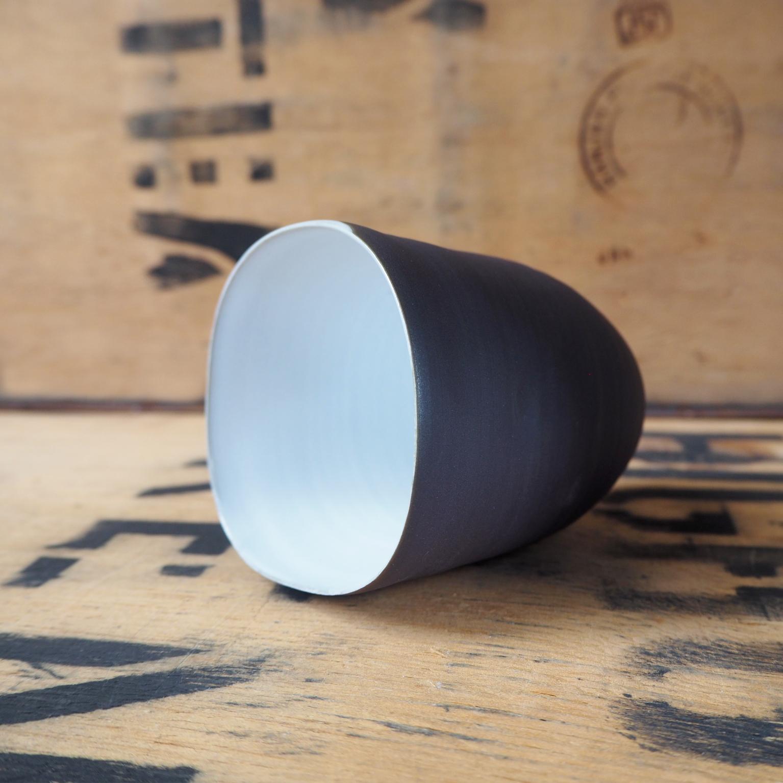 Black Porcelain Beaker + White Glaze By Anja Graefe