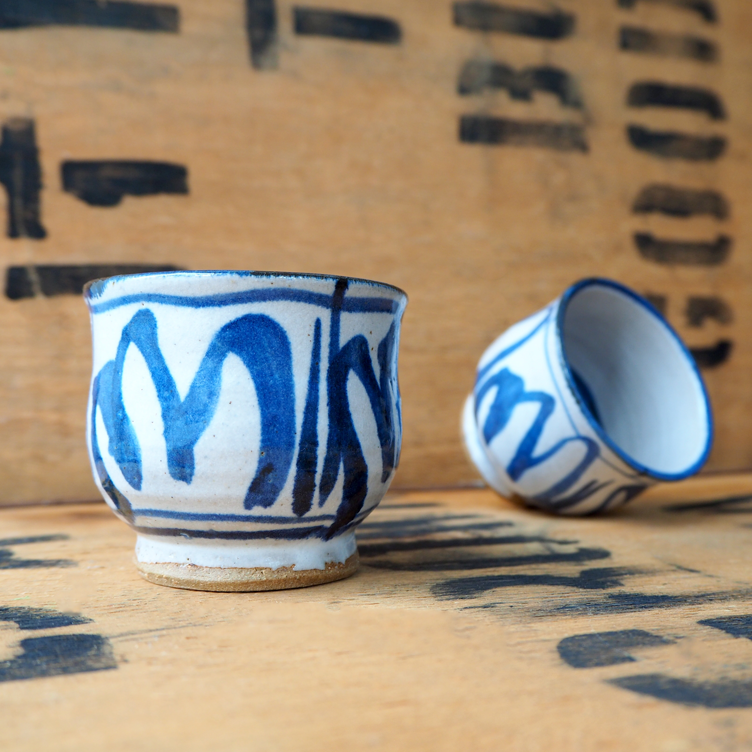 Painted Blue Tulip Tea Cup by Robyn Cove