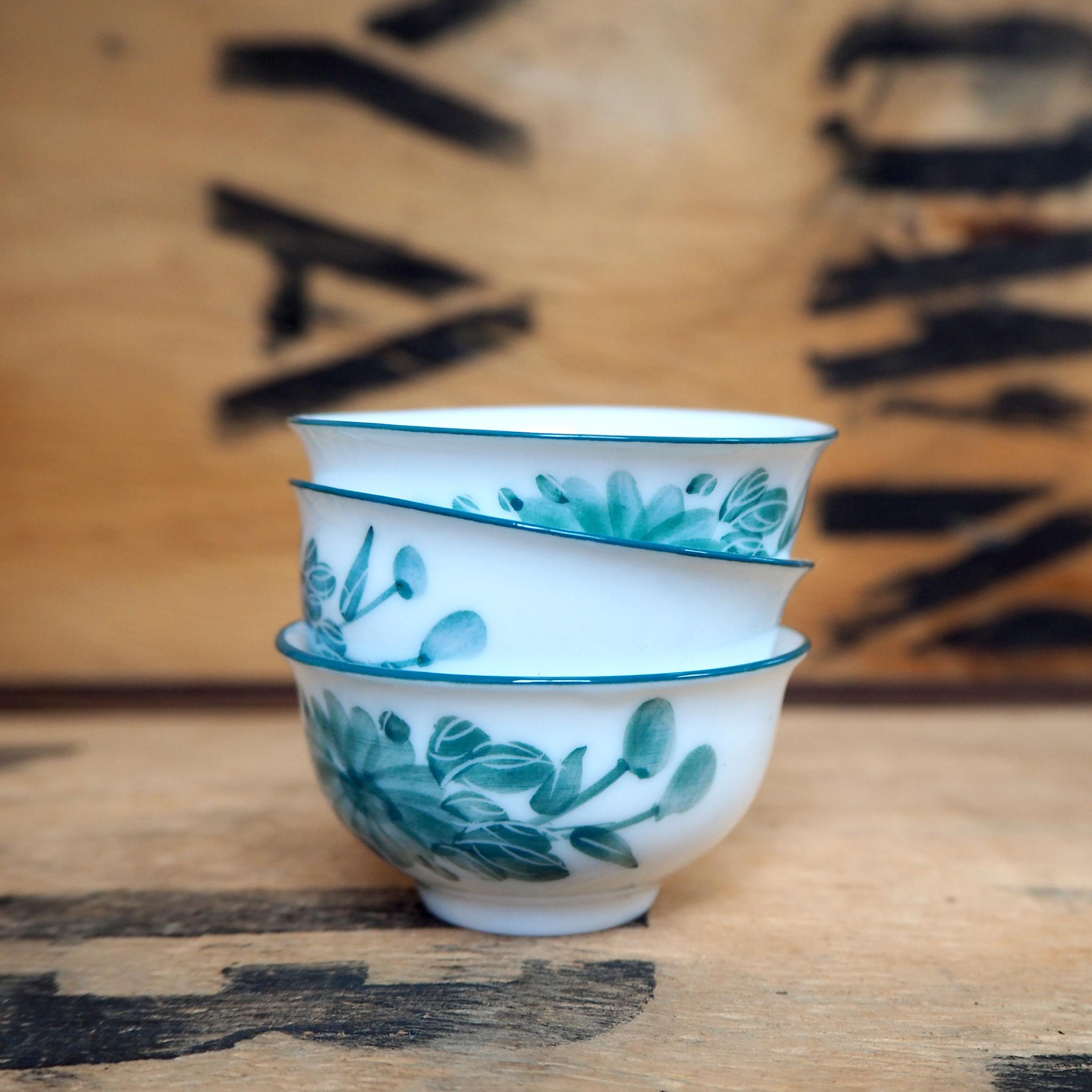 Green Field Porcelain Teabowl ~ 25ml