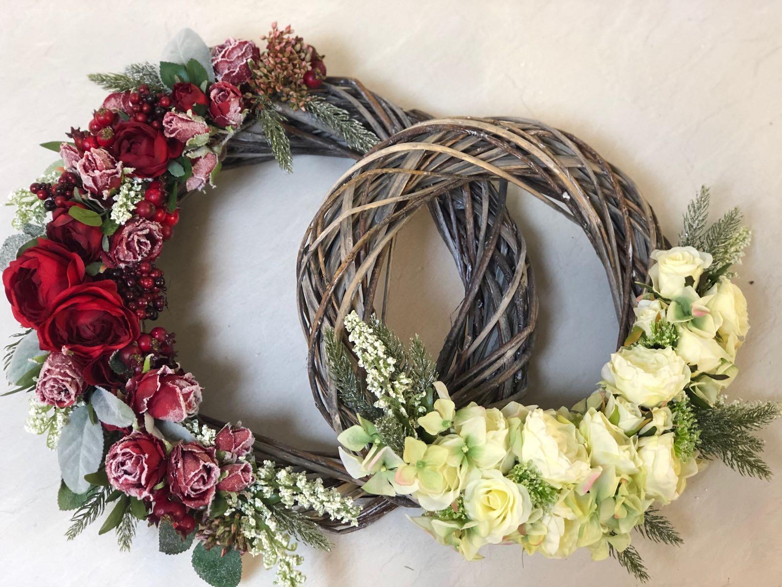 Petals and Peas Cream Winter Wreath 36cm approx