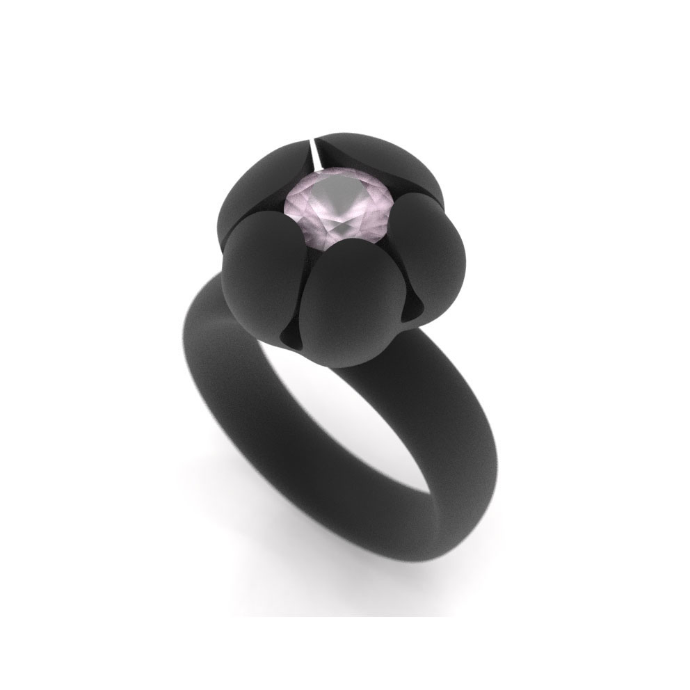 Bud Ring, 6mm Rose Quartz