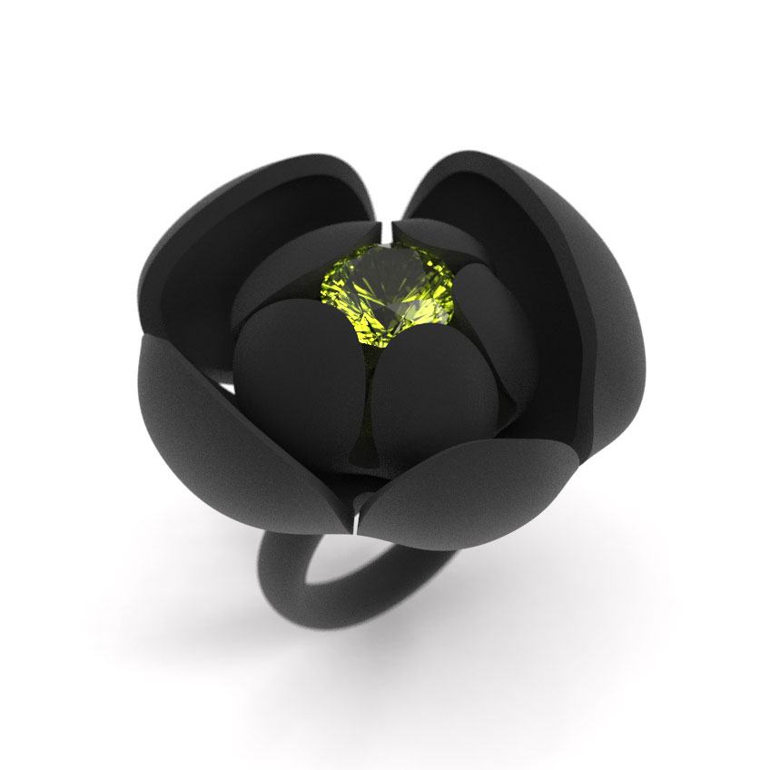 Flower Ring, 10mm Lime Citrine