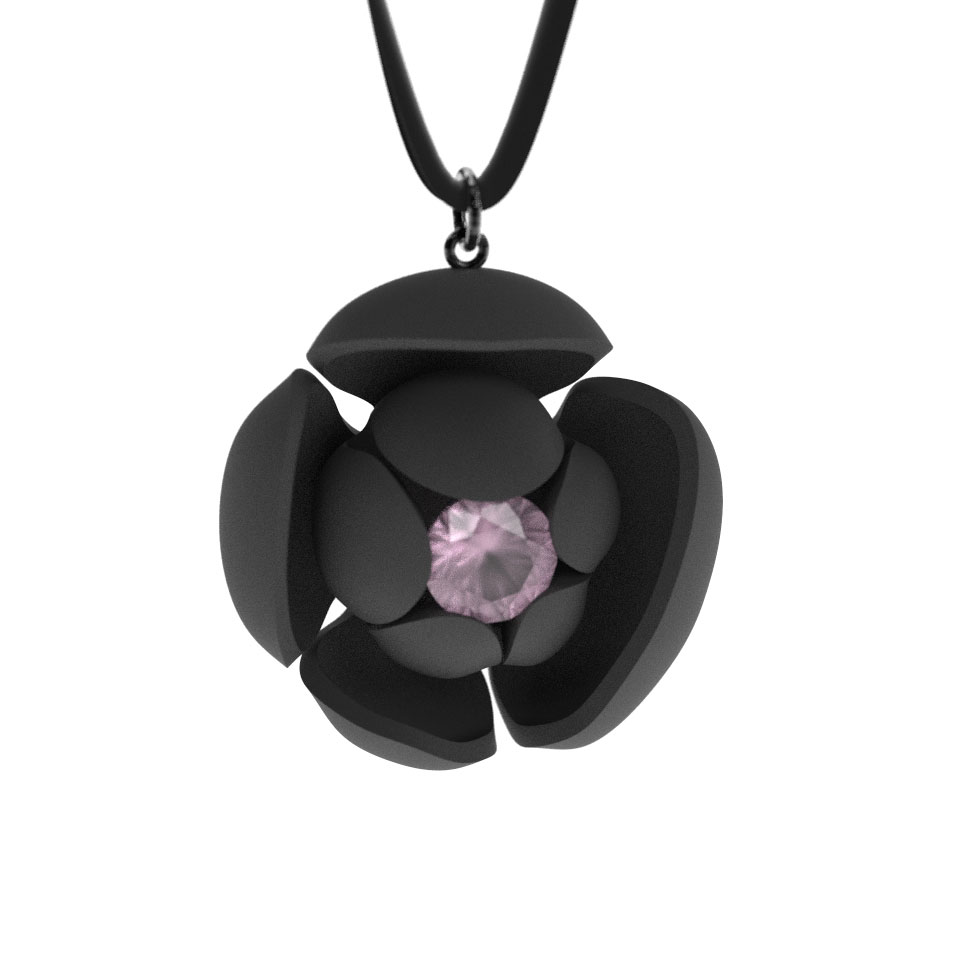 Flower Pendant, 10mm Rose Quartz