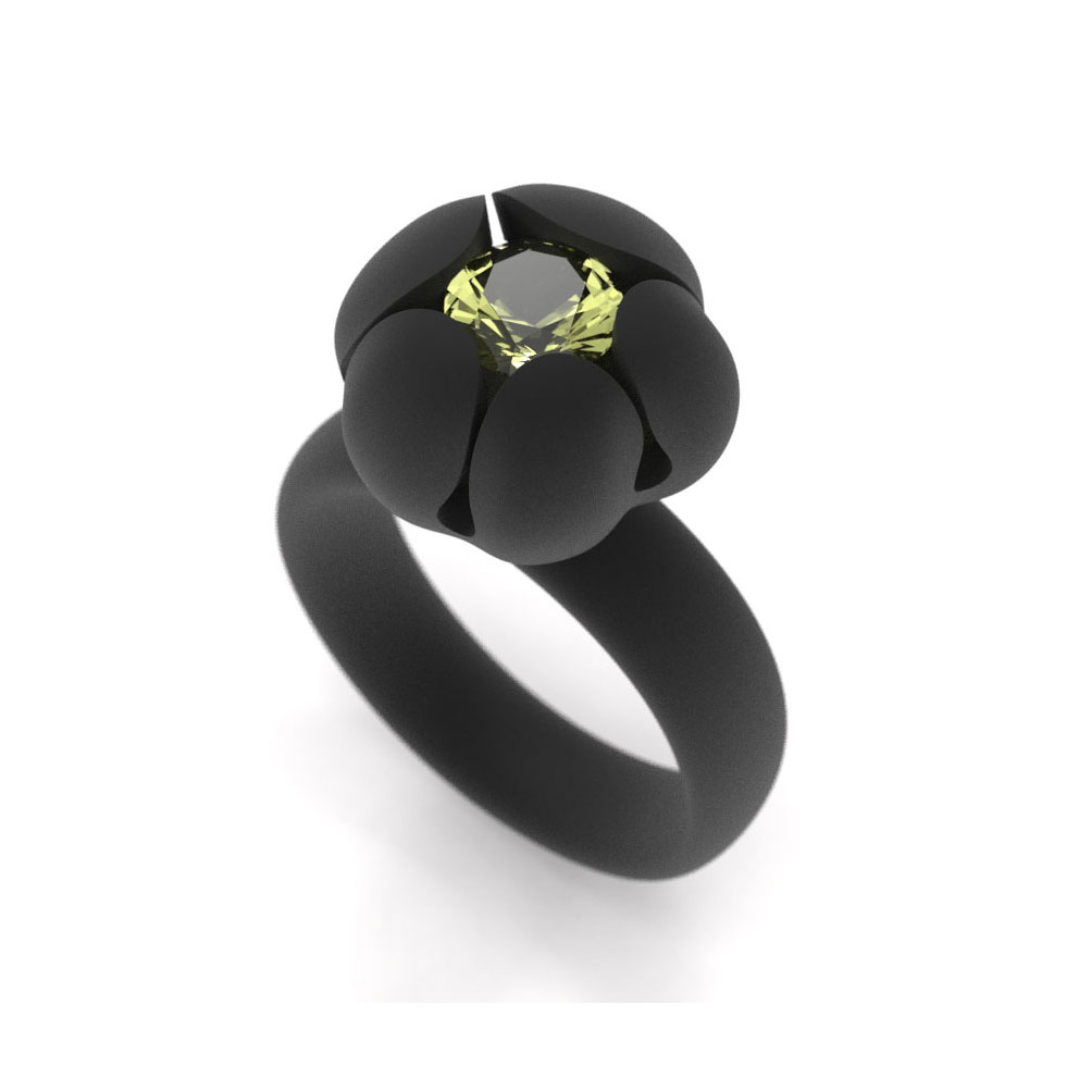 Bud Ring, 6mm Lime Citrine
