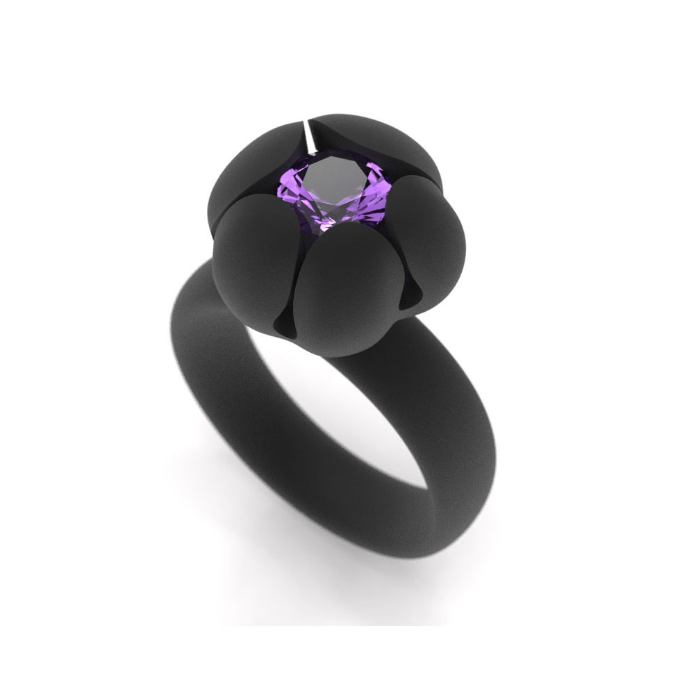 Bud Ring, 6mm Amethyst