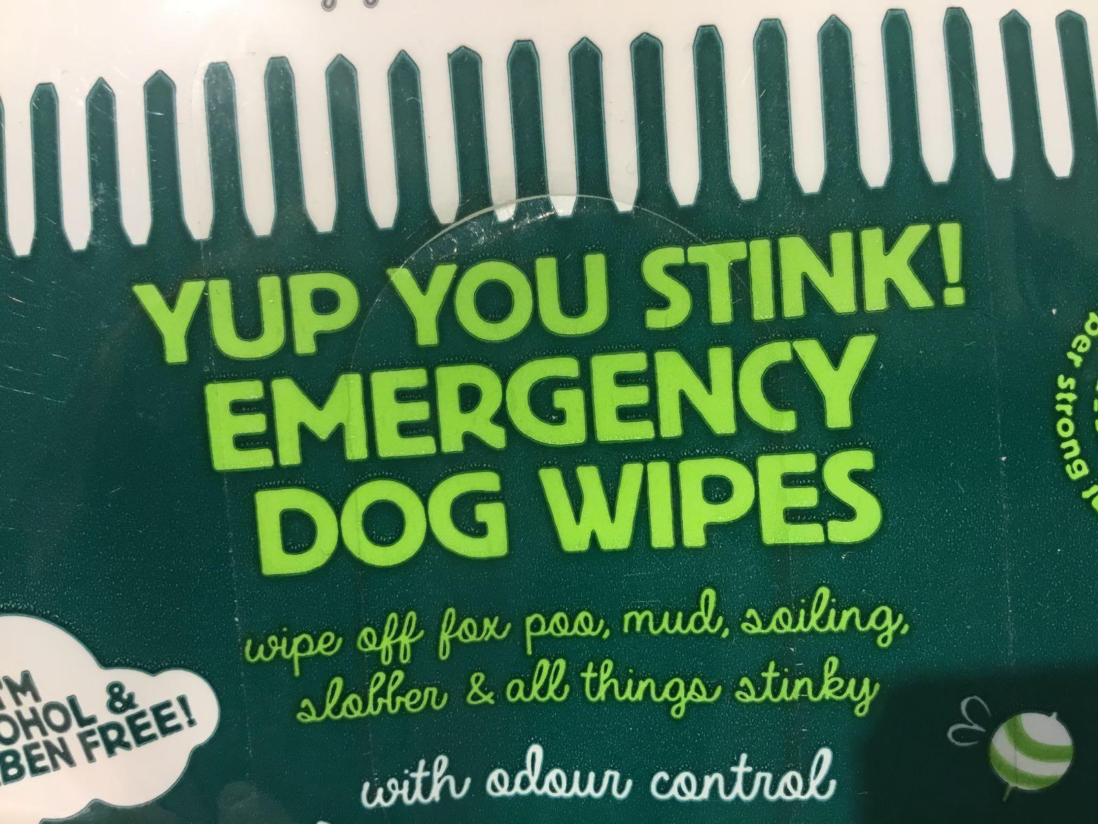 Yup you stink emergency dog wipes
