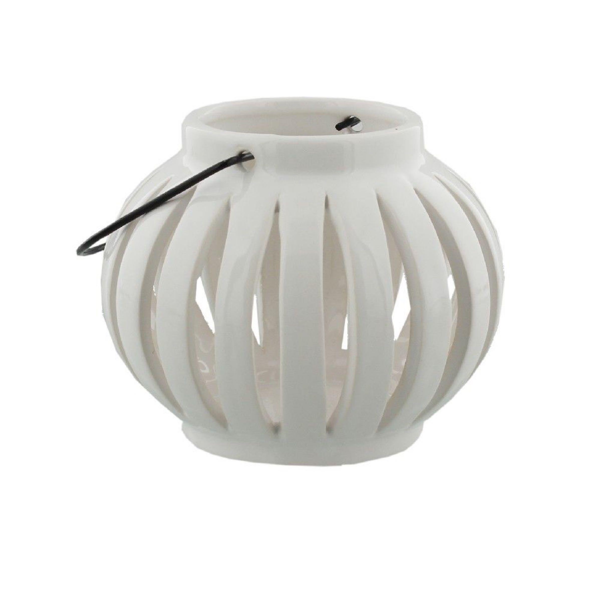 White Ceramic Tealight Holder  Open Design  8.5cm