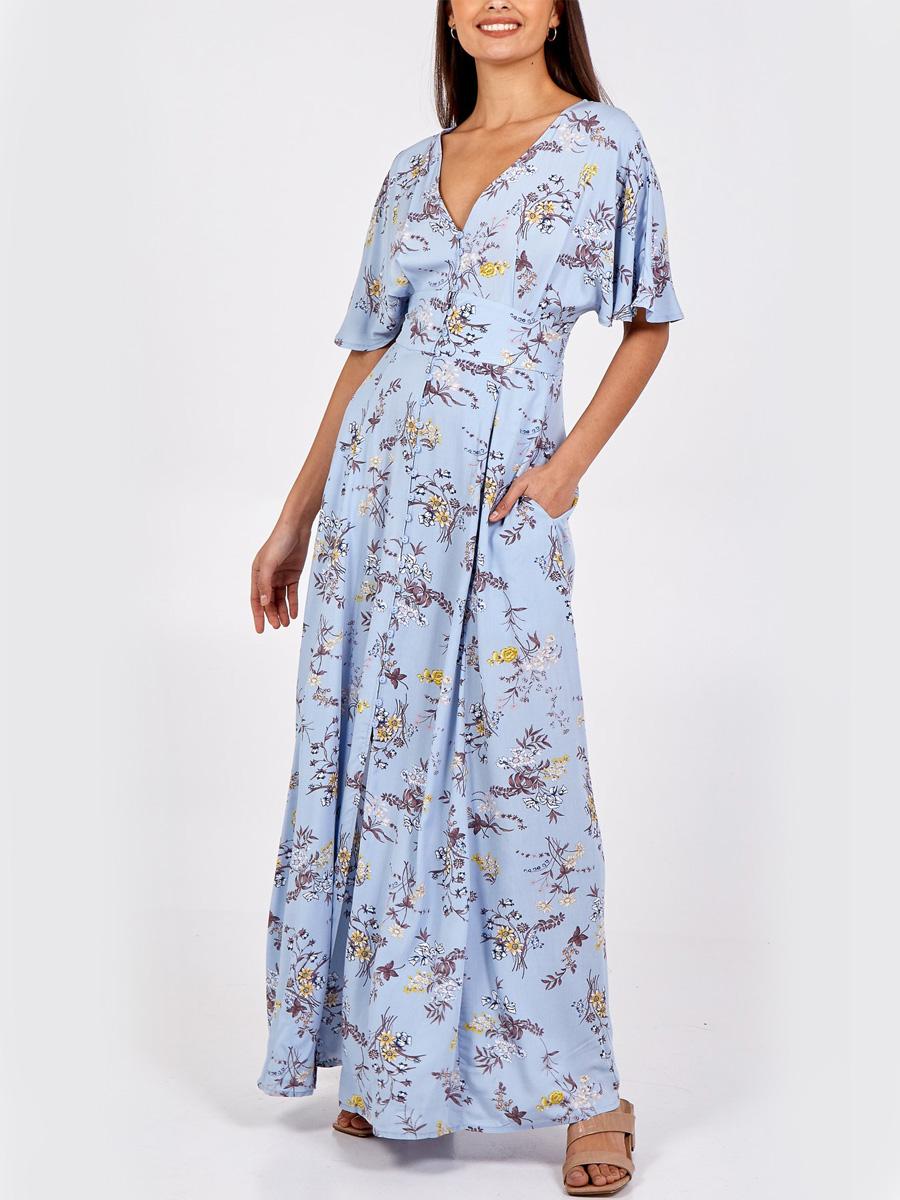 NL8893 Button Through Maxi Dress