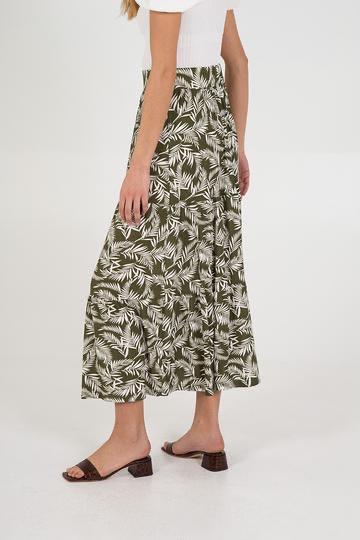NL6202 Leaf Tiered Gypsy Maxi Skirt