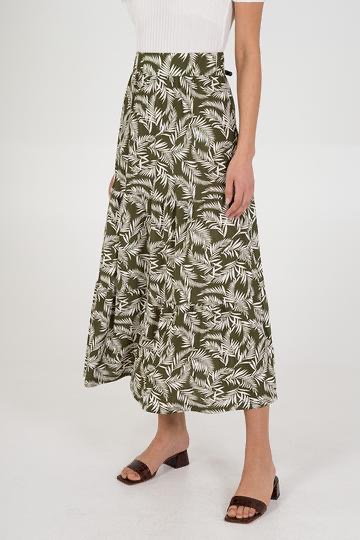 NL6202 Leaf Tiered Gypsy Maxi Skirt