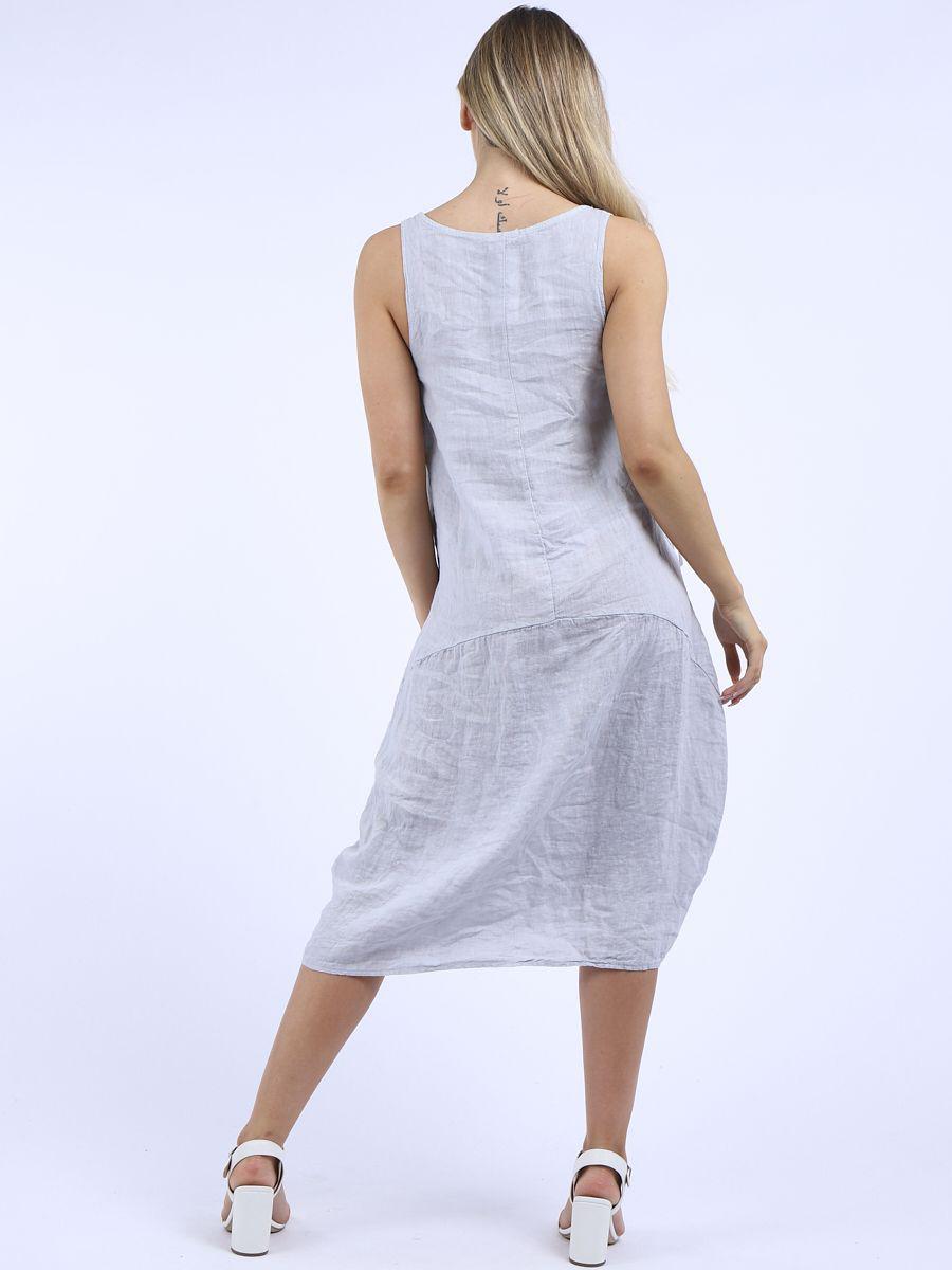RW6062 Plain Sleeveless Quirky Linen Dress
