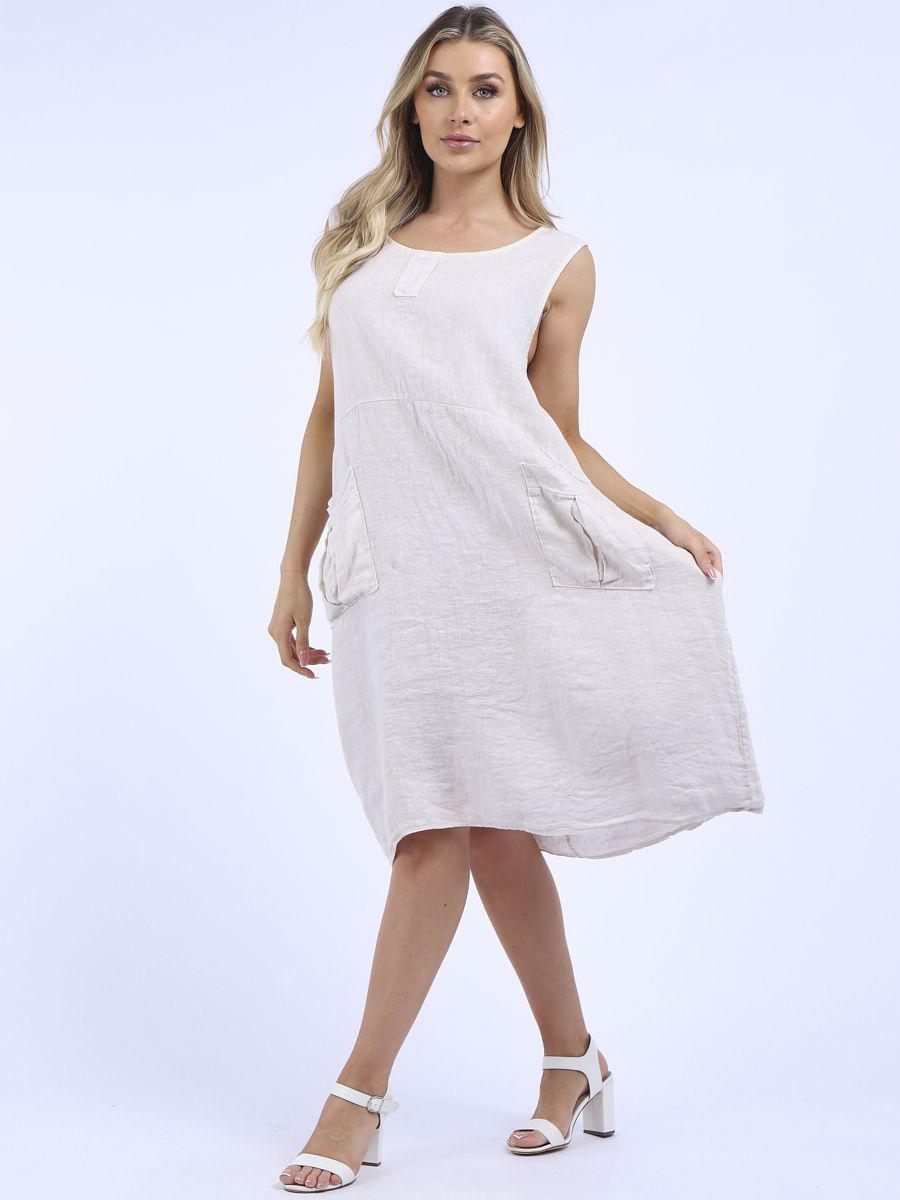RW6357 Plain Sleeveless Linen Shift Dress