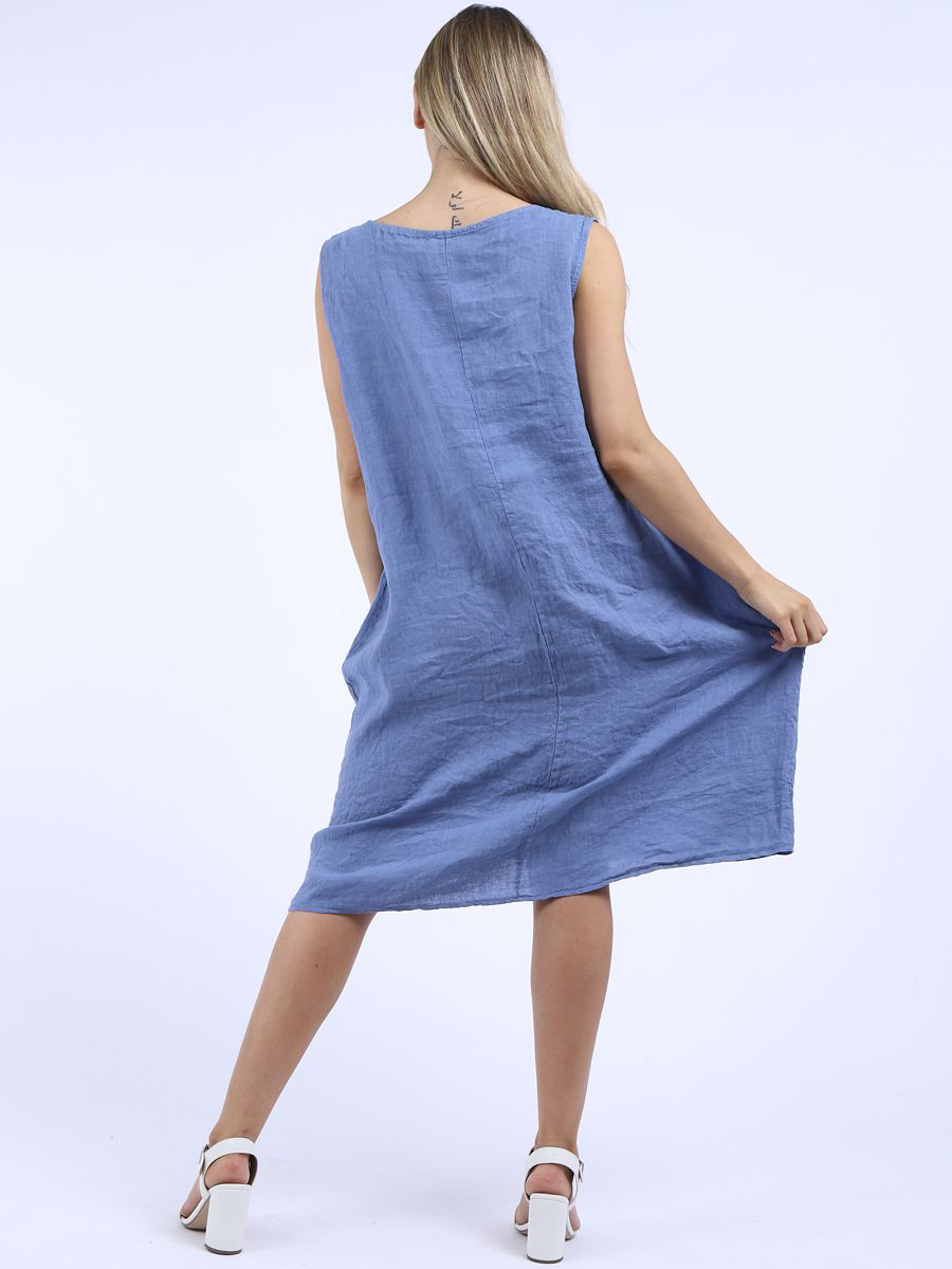 RW6357 Plain Sleeveless Dress with Pockets