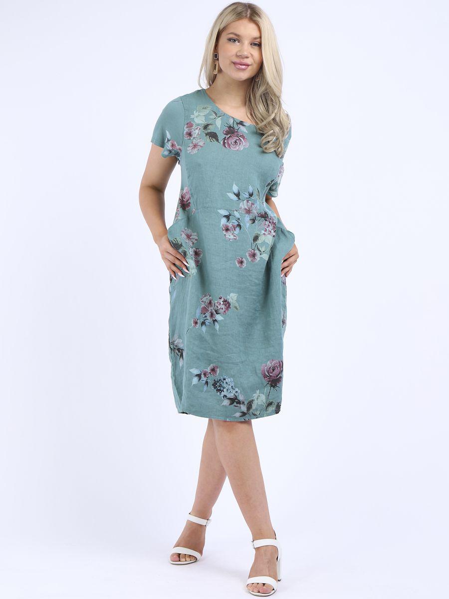 RW4815 Floral Linen Dress