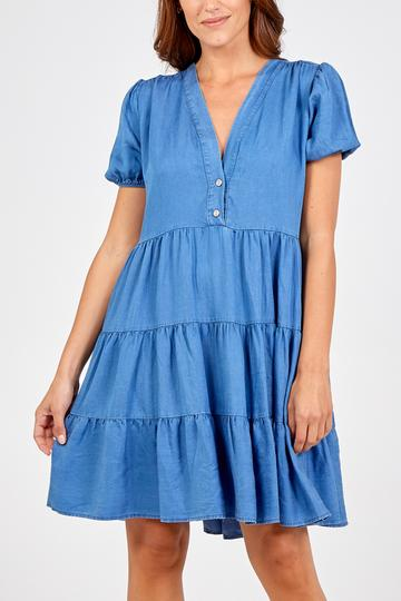 DENIM TIERED DRESS TOP