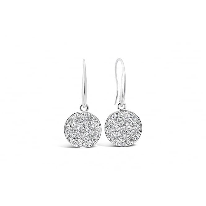 E18095 Rhodium plated drop circle Earings