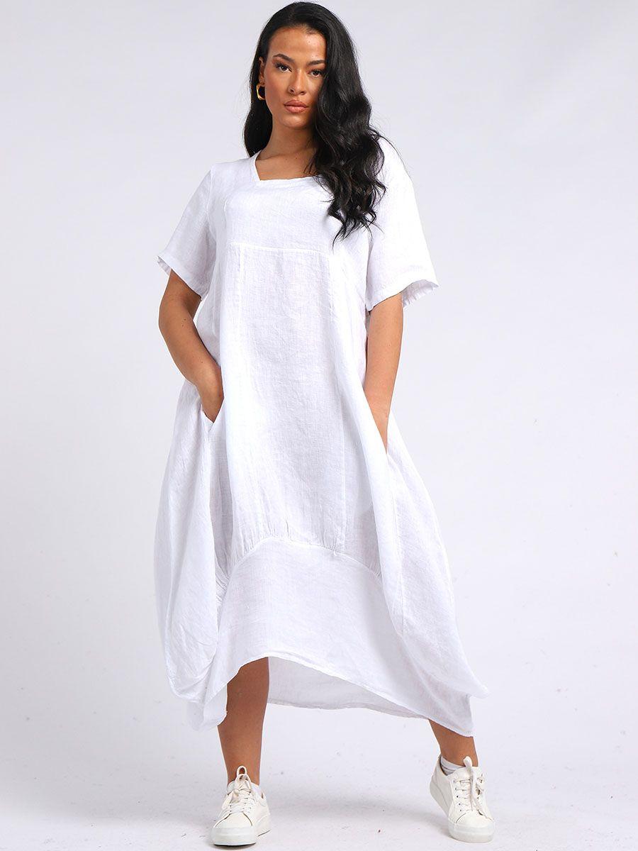 RW-5889 Balloon Hem Linen Tunic Dress