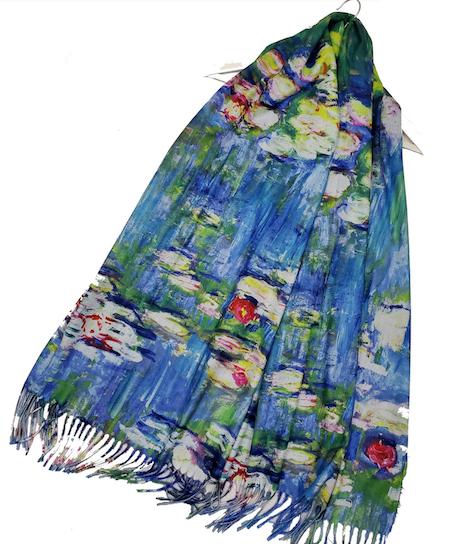 3682 Monet Water Lilies Print Wool Scarf