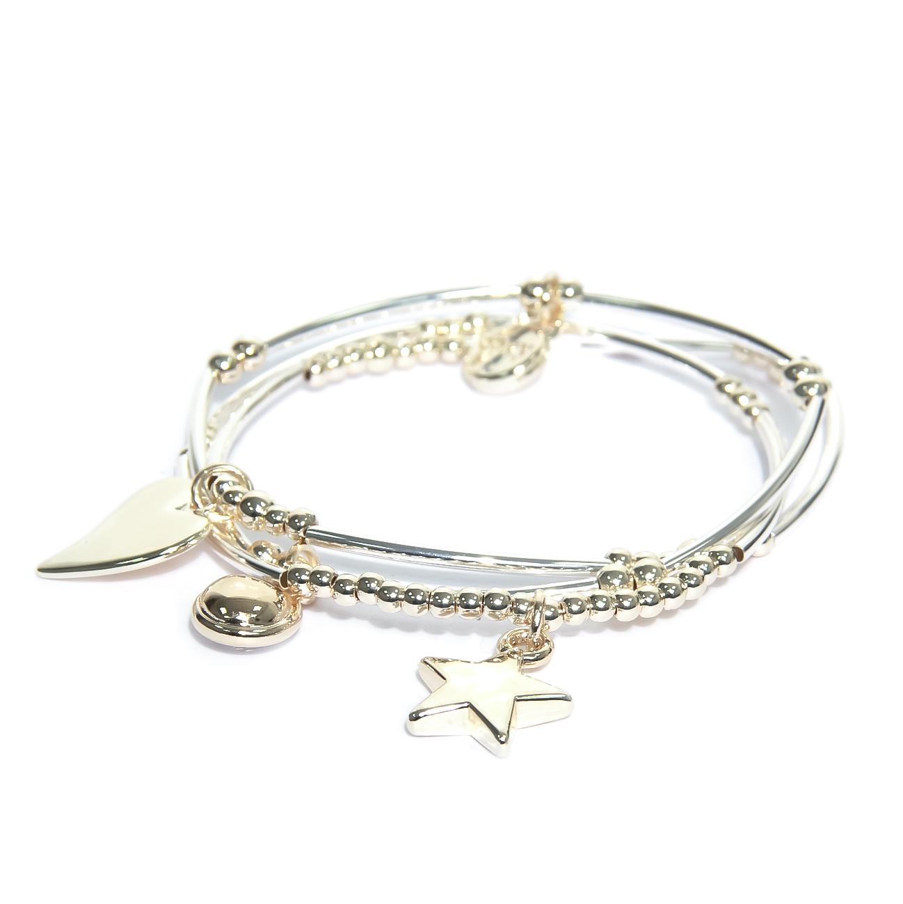 1318 Silver Bar Beaded Bracelet