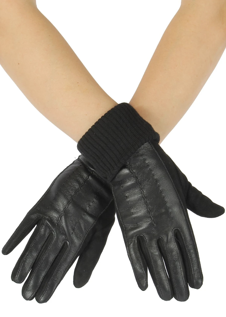 3120 Faux Leather & Suede Style Gloves
