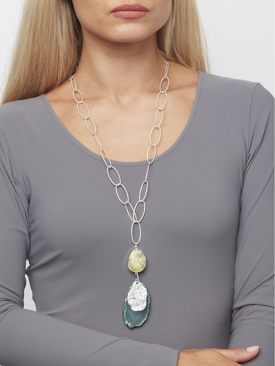 1398 ENVY GREEN STONE NECKLACE