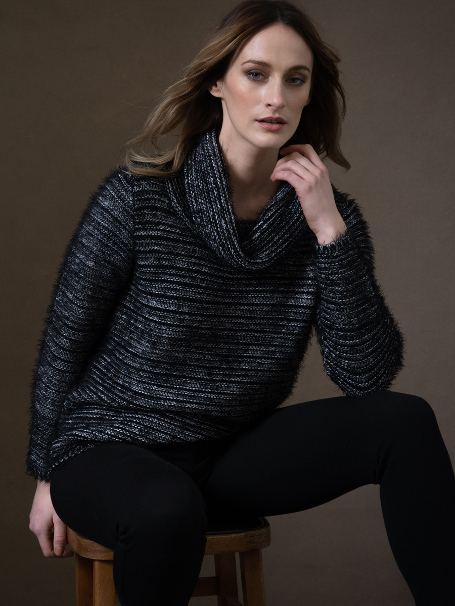 6333 MARBLE Soft Cowl Neck Sweater