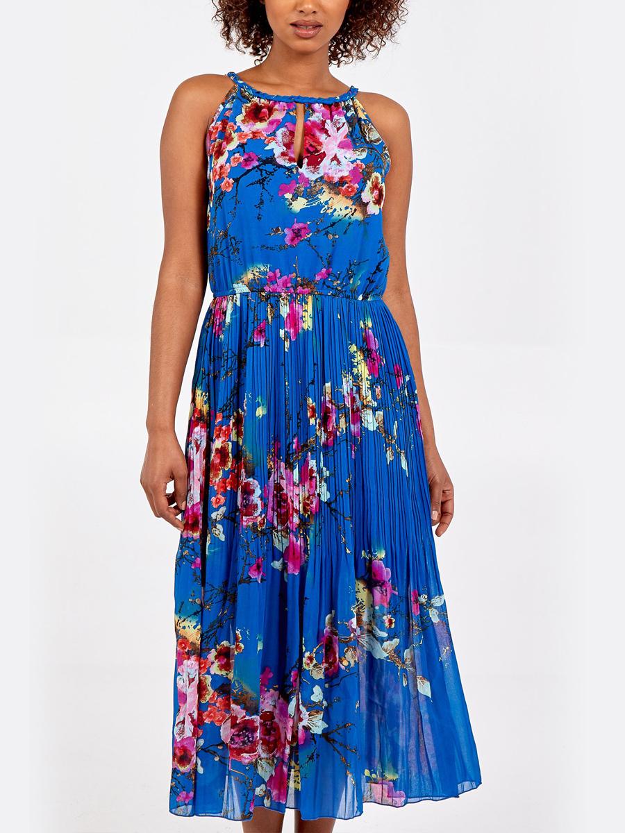 NL8952 Floral Pleated Midi Dress